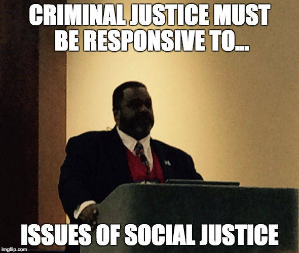 President of the Academy of Criminal Justice, Dr. Lorenzo Boyd, calls on criminal justice academics to work toward addressing root causes of crime and confronting directly the need for social justice, during his Presidential Address on March 22, 2017, in Kansas City (MO).