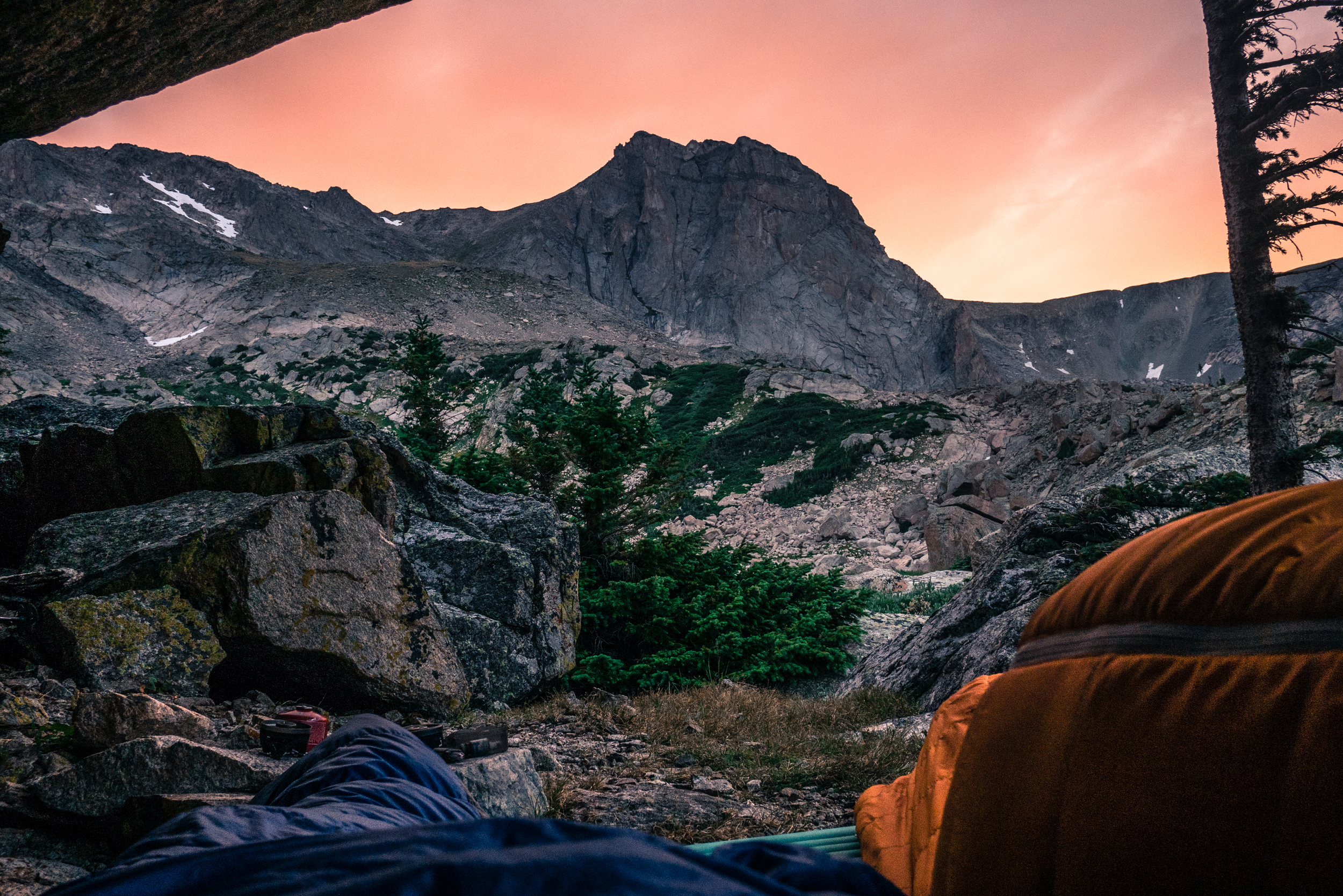 Bivouacking below the east face of Mt. Alice