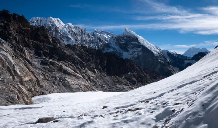 Looking down pocket glacier below a 5,400m pass
