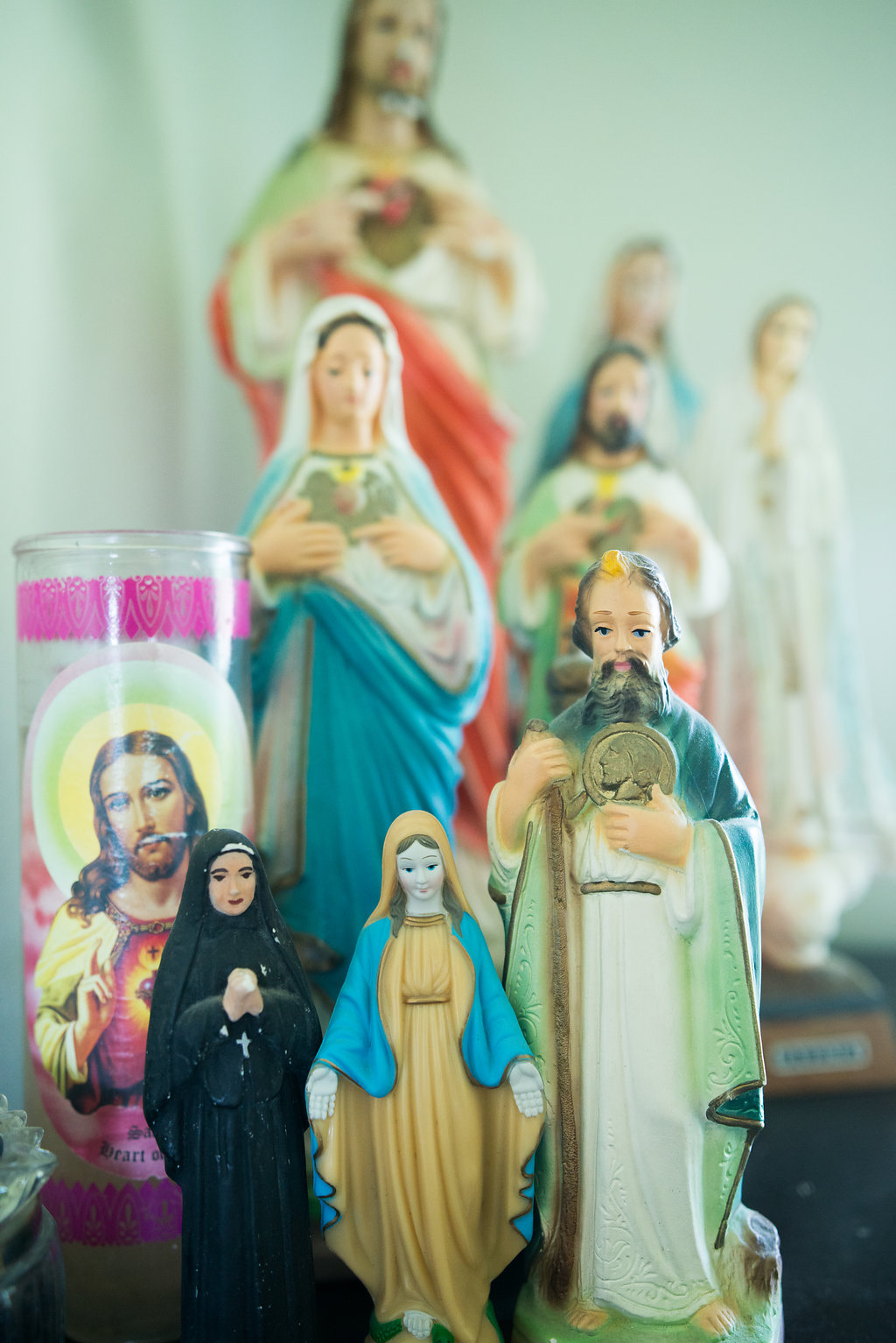 Tytia sussed out this troupe hiding in our defunct office.  We share a love for this stuff.  I heart liturgical memorabilia and around here it is everywhere.  I can't wait to collect the Saint Teresa one.