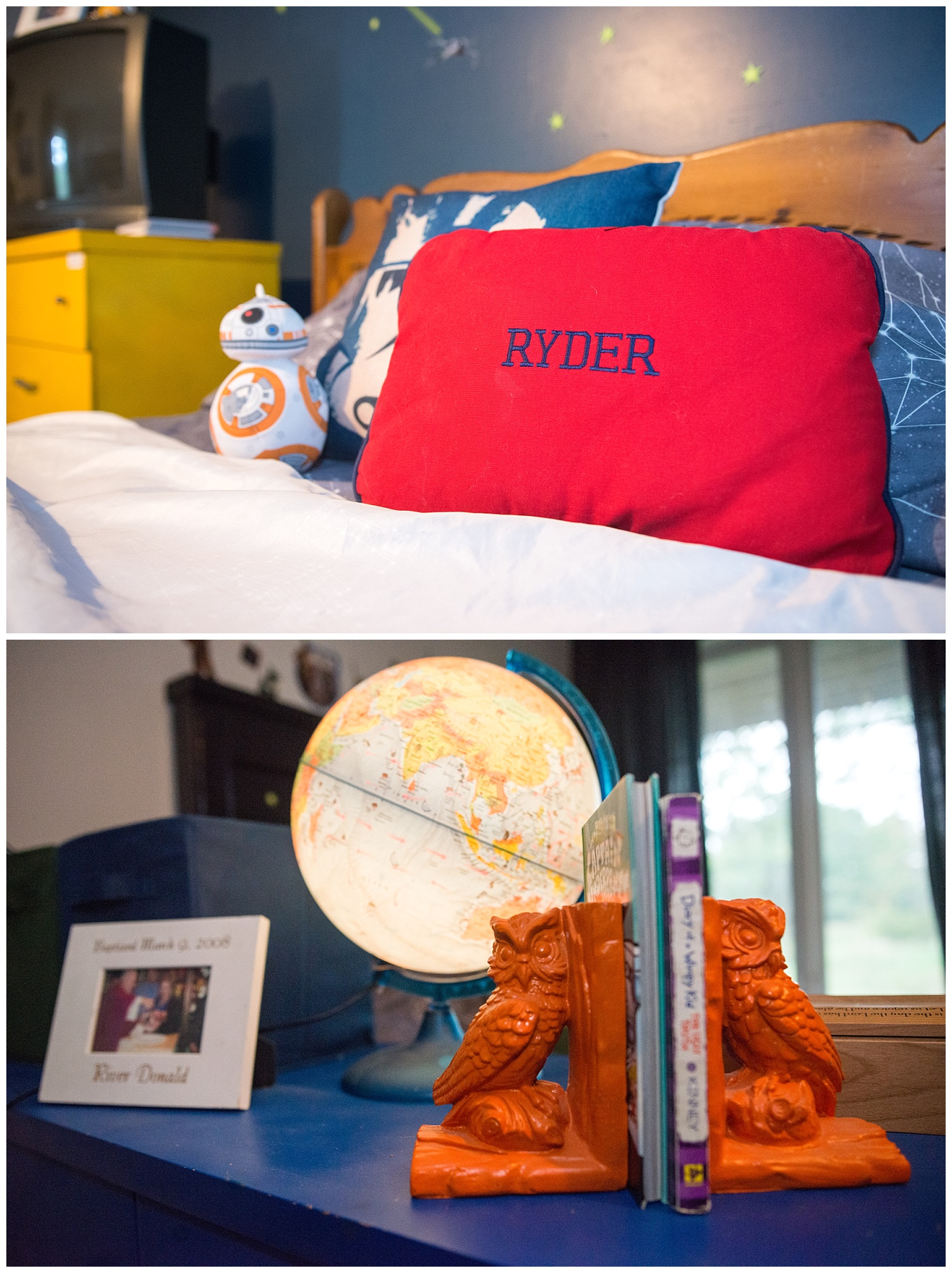 Vintage bookends and a light-up globe don a painted dresser in the boys' room.