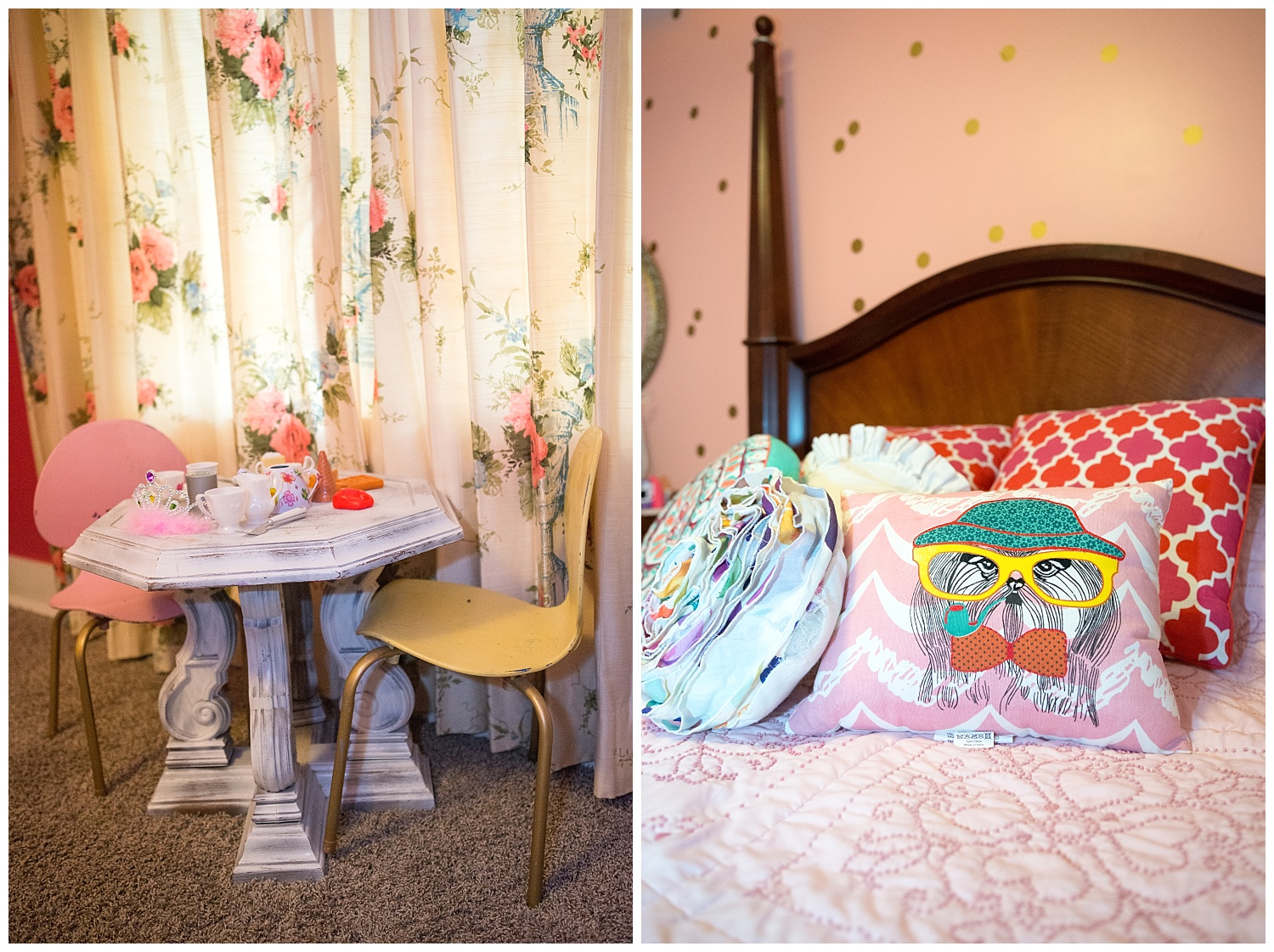 And here's Summer's room.  How dreamy are those vintage pink curtains behind the table set for tea?  We'll have to re-visit Salina's home as we've only scratched the surface.  Summer has a bathroom that is to die for.  Think the ruffliest, girliest pink shower curtain in the world.