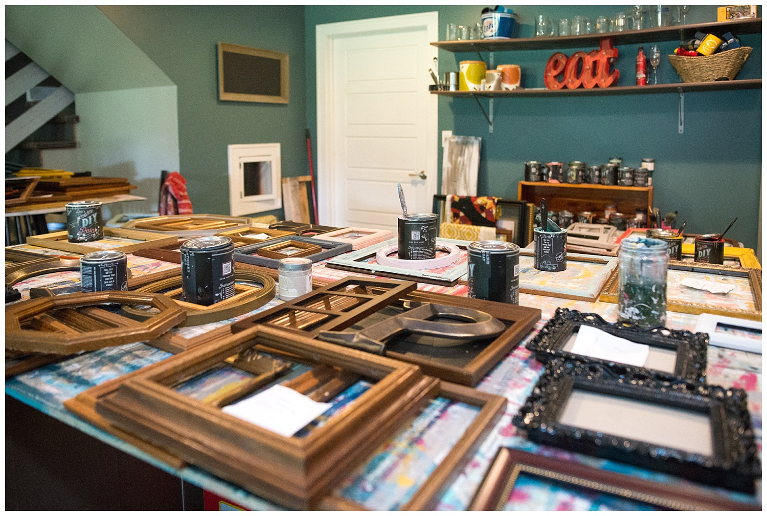 This is the scene in her basement where the bar should be.  And this is just one room of five (have I mentioned that their house is huge?) that has been taken over by their businesses.  They've got big plans to build a shed and move it all out of the house so at the end of the day they can relax and not have to look at work to be done.