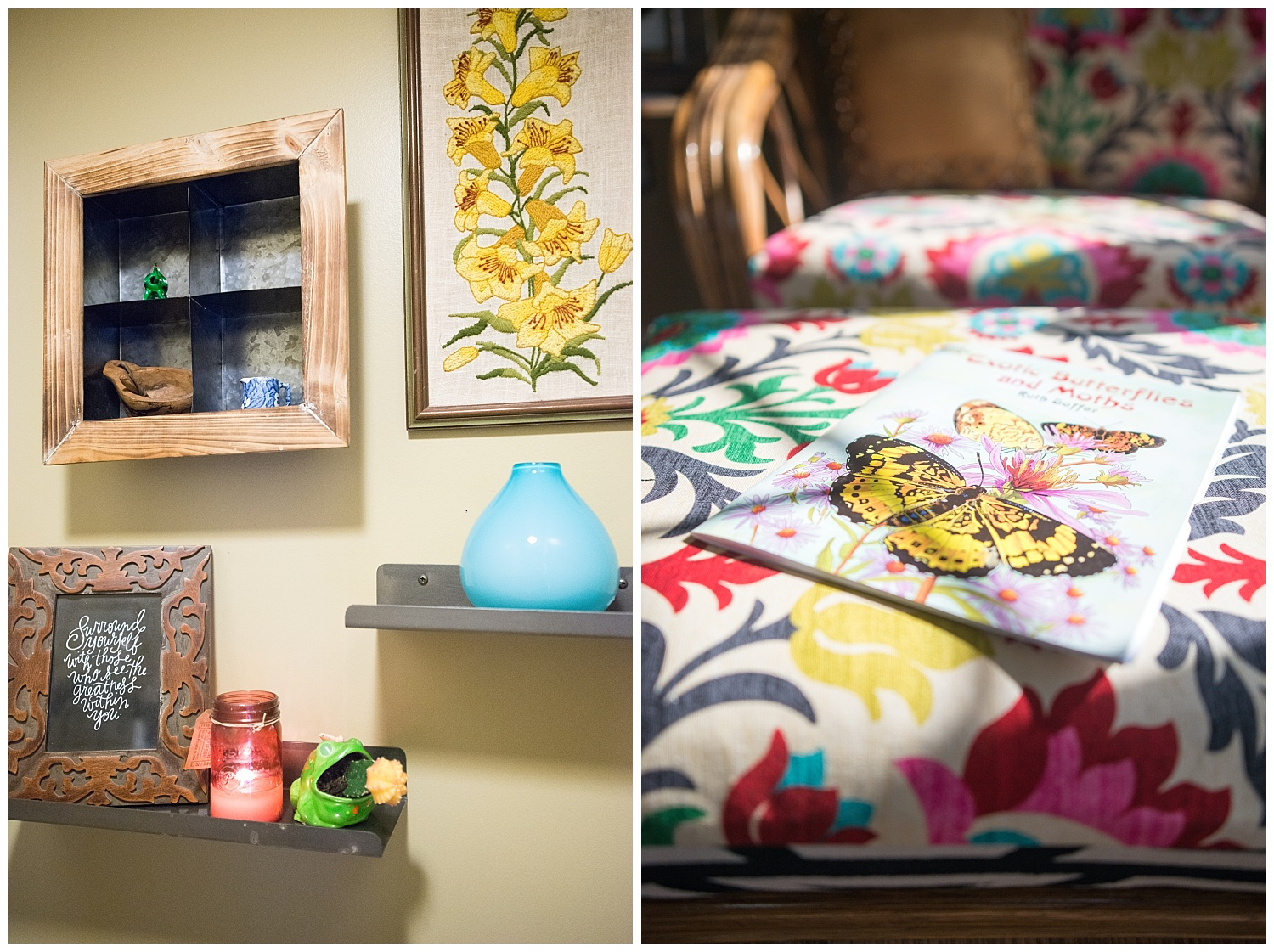 Color mixed with natural elements sums up her style.  On the left are metal shelves from Fresh Digs.  On the right is the gorgeous fabric she used to recover an old sofa and ottoman.
