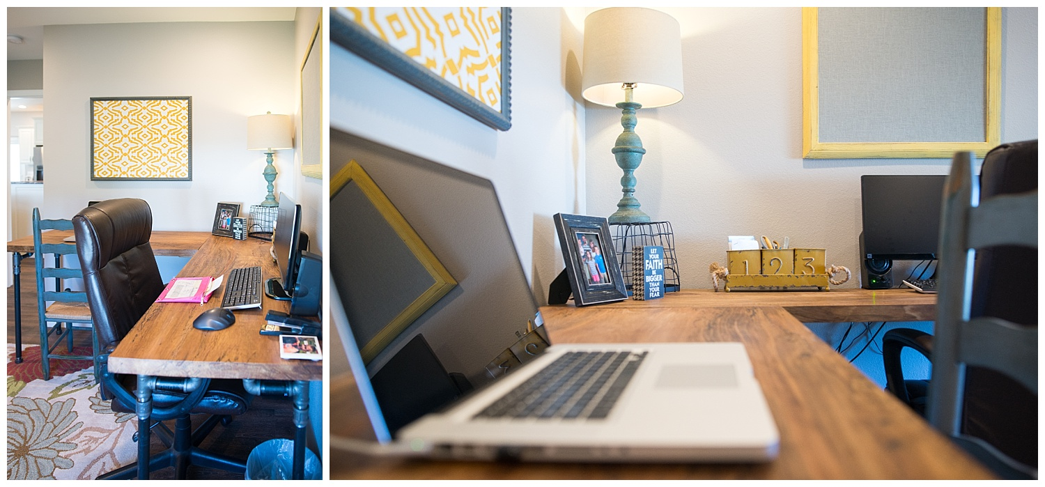Elizabeth's office is the perfect home-office.  She's got an L-shaped desk with a custom-built top by Gould's Custom Woodworking, lots of things she loves and a closet to hide away all of those pesky office-y things.  The unadorned pinboards above the desk are from Fresh Digs.