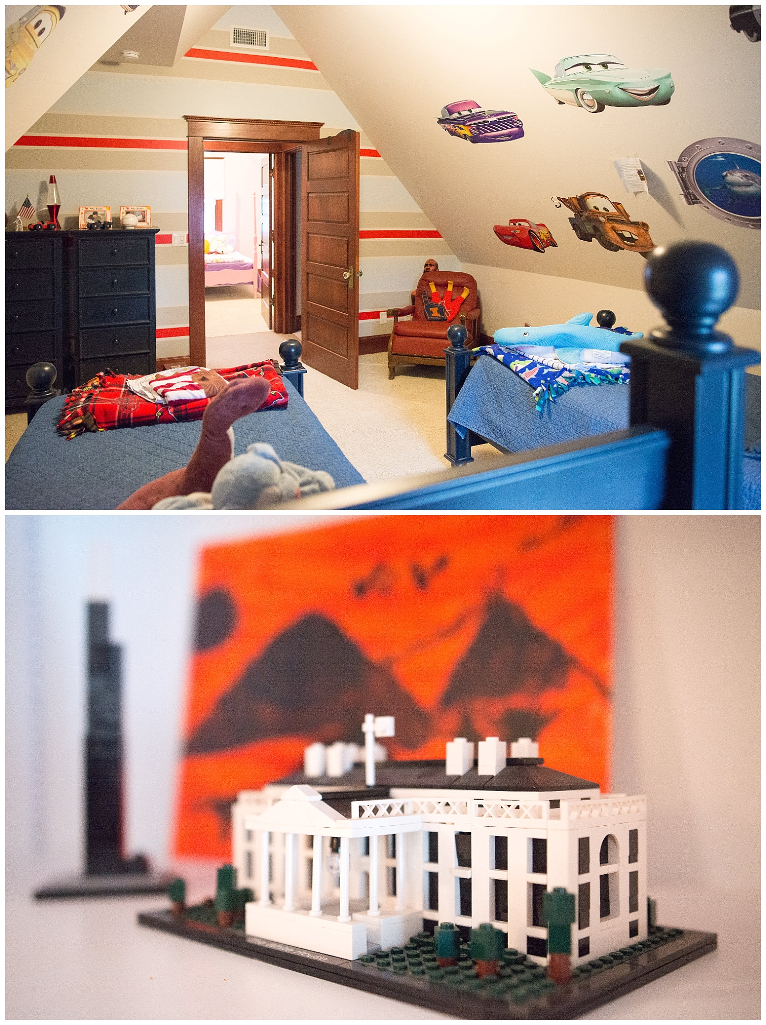 The Probst kids - Joseph (Joey) (8), Mark (the Shark) (6) and Gwyneth (Gwen) (5) have rooms in the attic space that was separated into bedrooms. Joey and Mark share a typical boys' room complete with stuffed animals, Cars and sharks wall decals and a cute little vintage chair in the corner. Joey's little Lego Architecture sculptures decorate the kids' upstairs space.