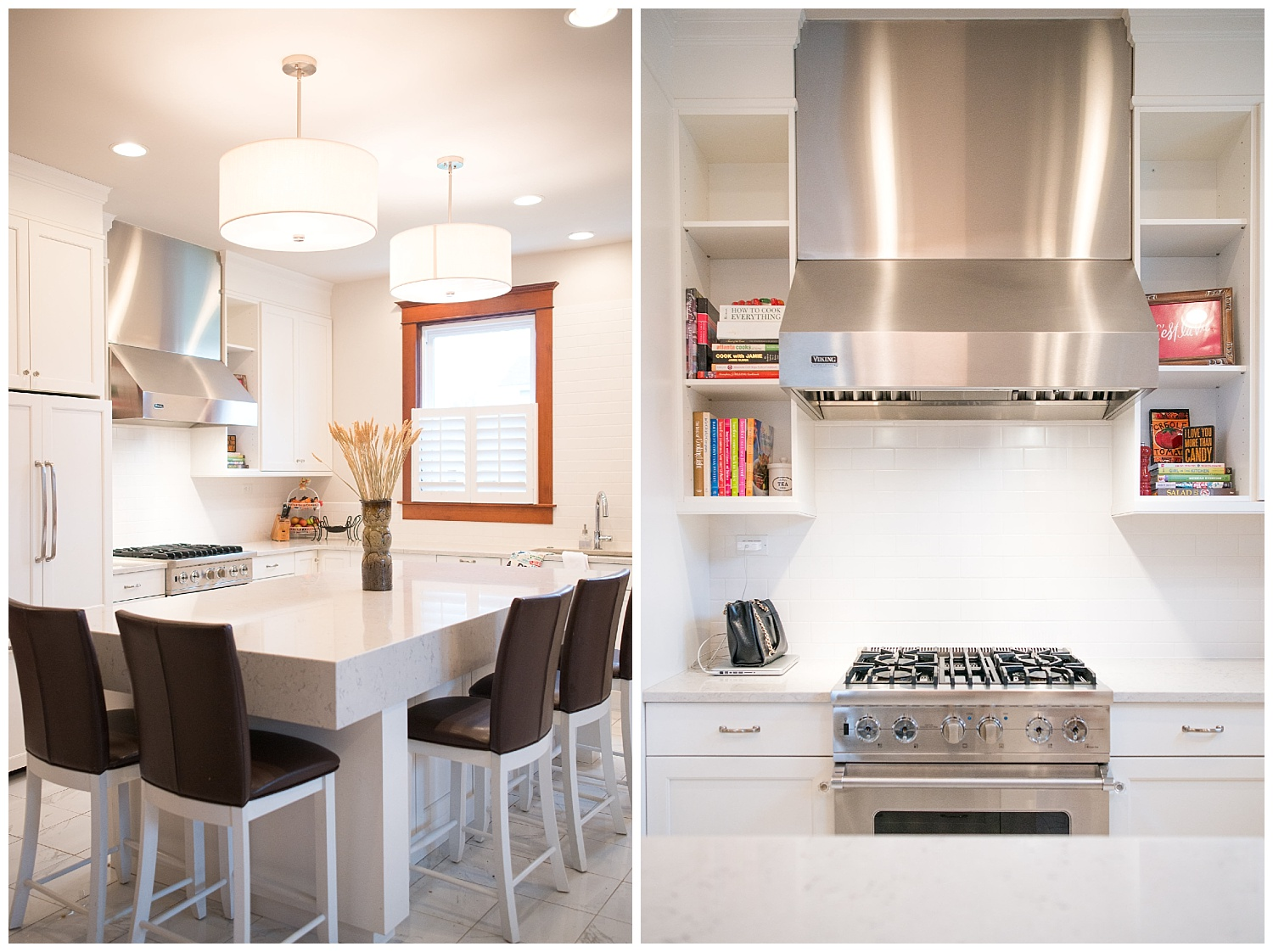 See what I mean about modern in a historic home? Her appliances came from  Probst Refrigeration  in Effingham and lighting came from the  Altamont Home Center . This sleek kitchen is where she makes her Toll House cookies. : )