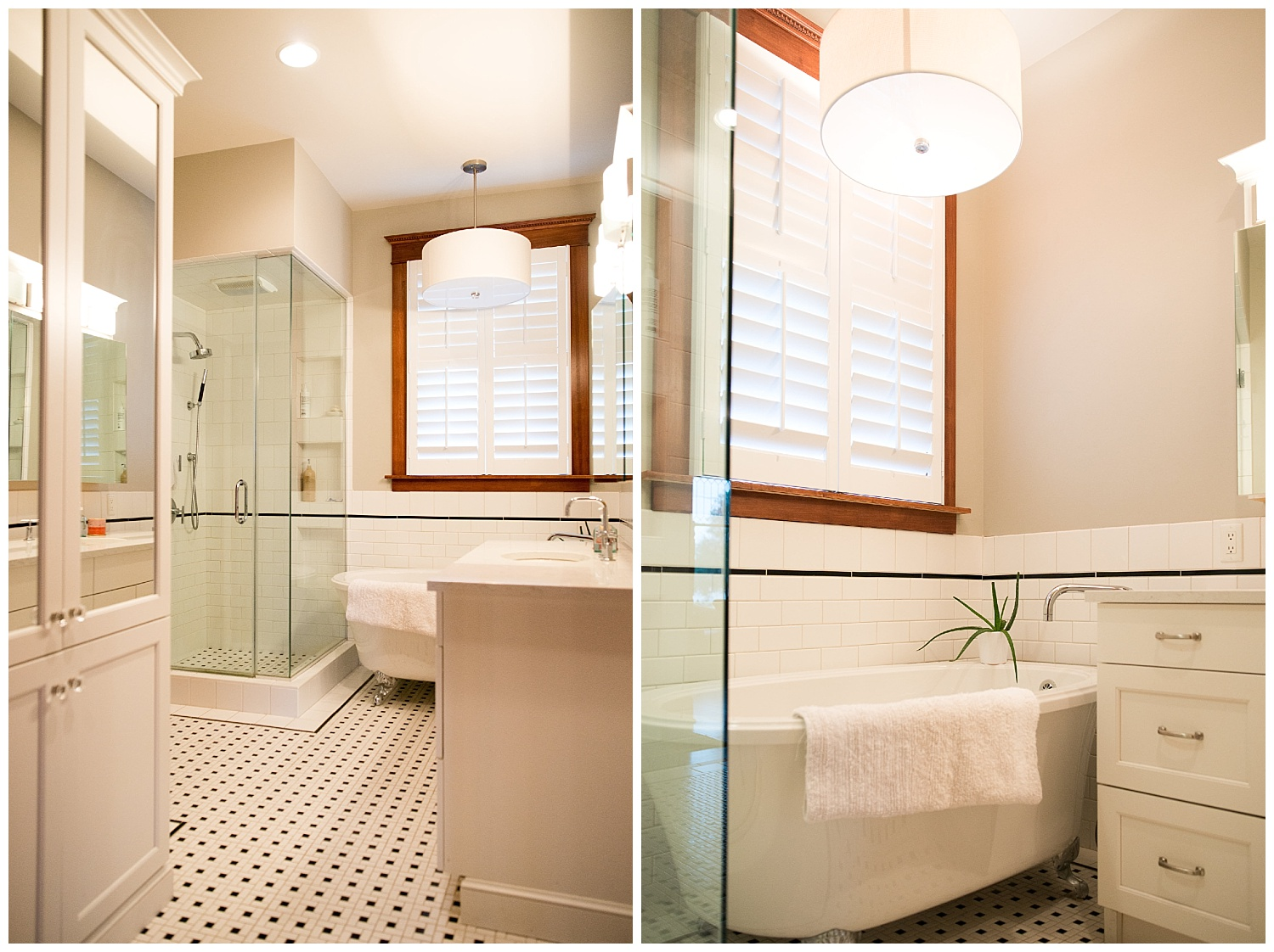 What I love about this bathroom, in addition to the new tile, claw-foot tub and overall simplicity of it,are the kids' drawings taped to the wall. : )