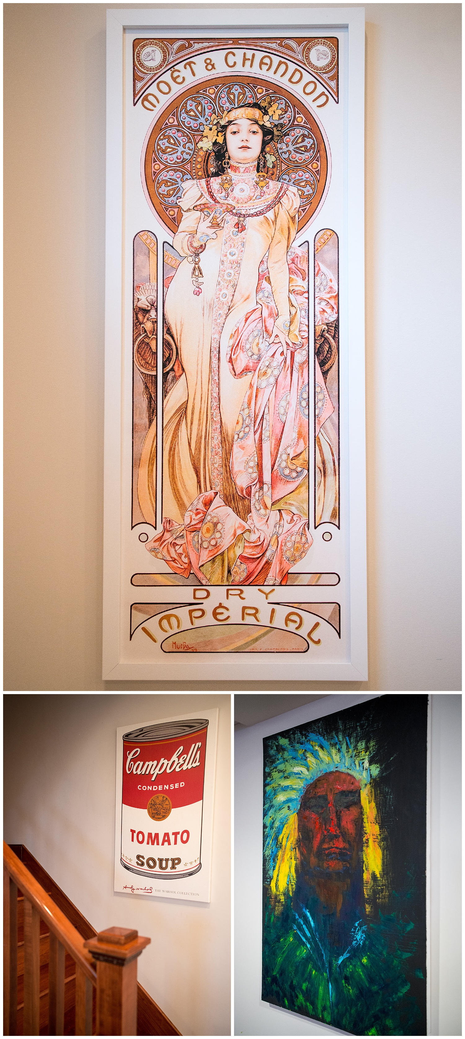 Leslie's artwork is all unique and all of it has meaning. Rich and Leslie have visited Moët in Champagne, France. The Warhol print was something she's had since college and she found the Chief at the Effingham Farmers Market. It's by local artist,  Jasmine Reardon .