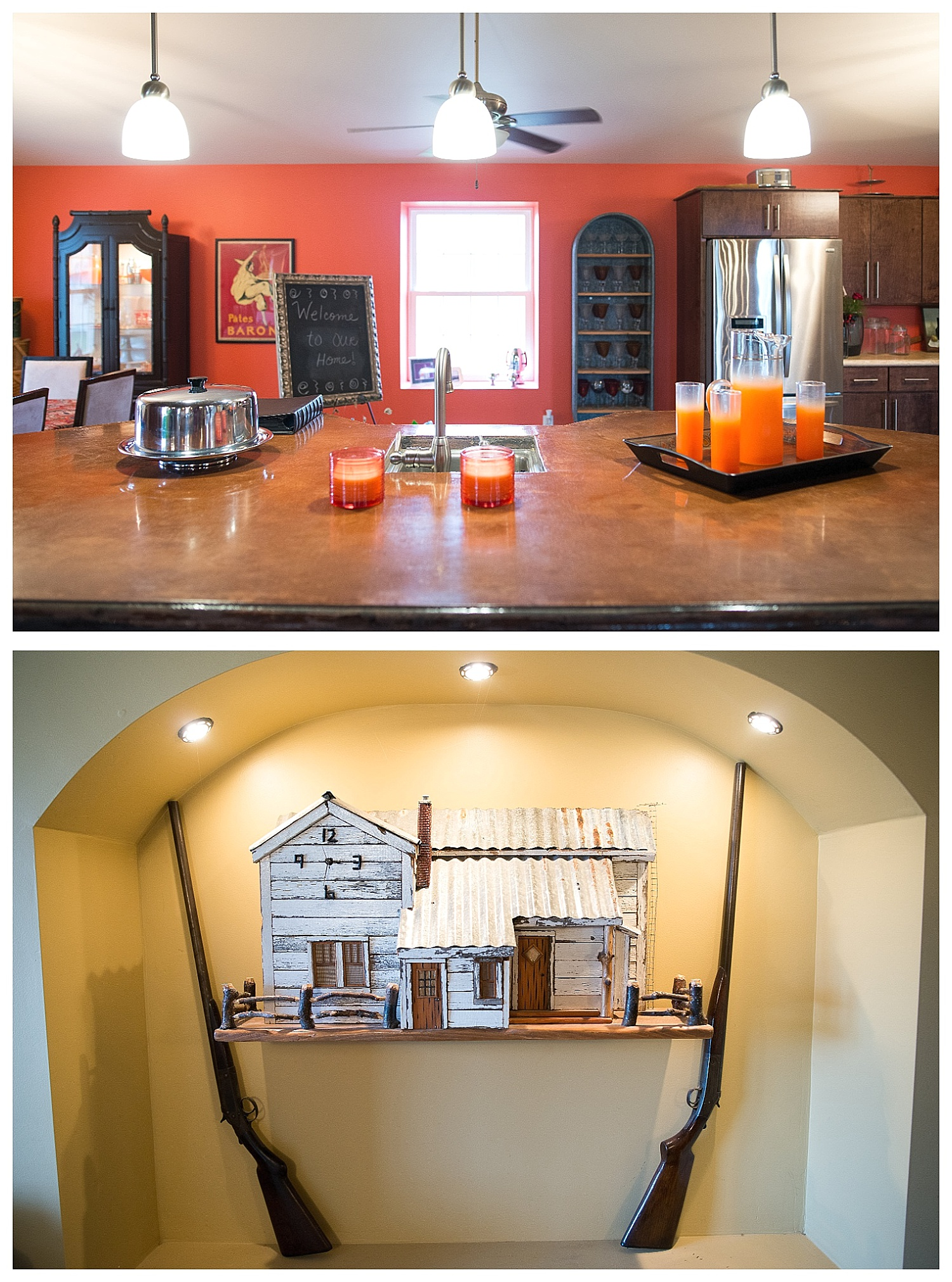 Maria: Bold orange, bling, frames and family photos.  Terry: Beautifully reimagined natural materials.  See the wine holder trough in the top photo?  Terry crafted it out of an old trough.