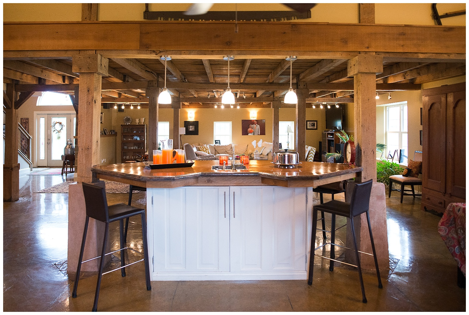 Here are the old farmhouse doors reimagined.  And check out the concrete counter.