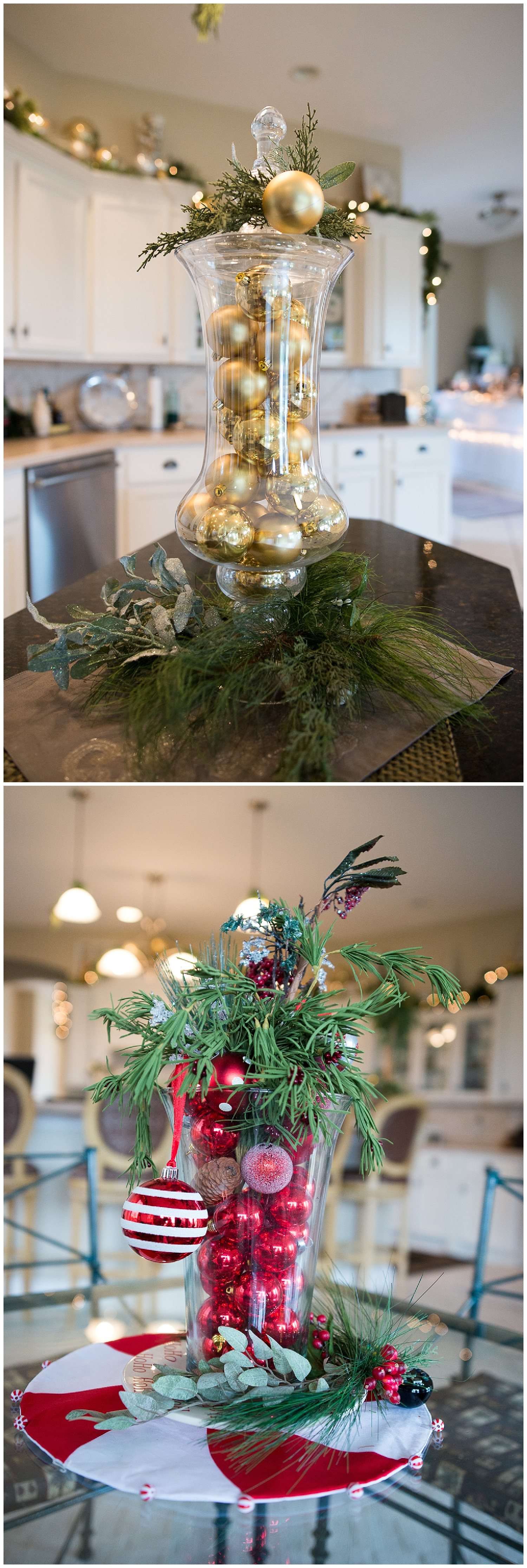 Don't have a lot of decorating space or perhaps you're low on storage space but want to do something?  Try Patty's trick of filling a glass jar with ornaments.  Simple and striking.