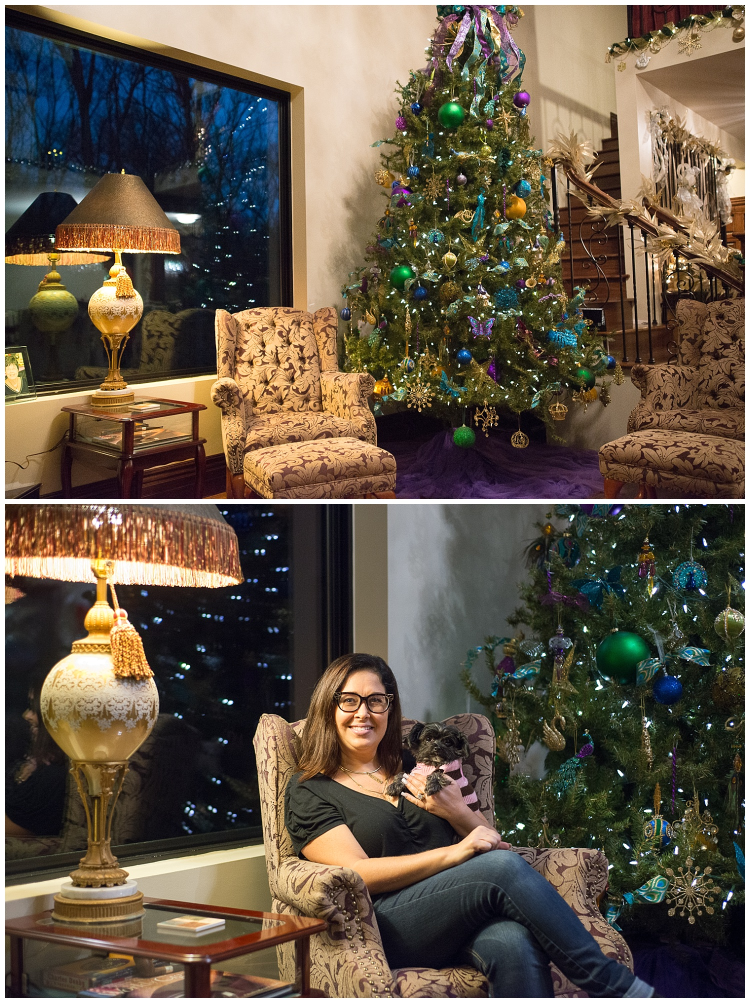Filling the 12' tree with meaningful ornaments wasn't a difficult task. Chandra (pictured) has been collecting them for the past 20 years and being a hairdresser she has received many as gifts from clients. And let us not overlook the vintage lamp sitting next to her. Gorg.