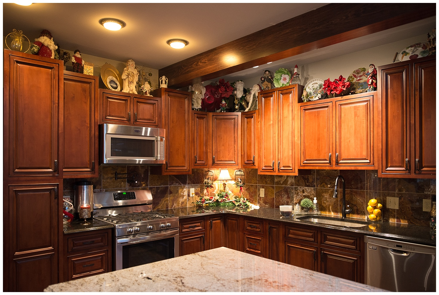 Chandra's Santa collection resides in her open-plan kitchen.