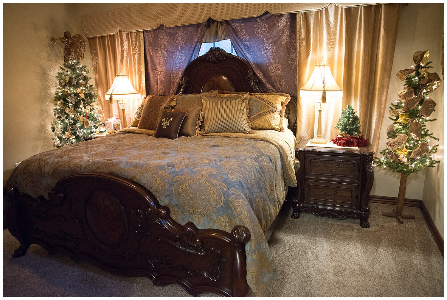 How cute are these His and Hers trees in the master bedroom?