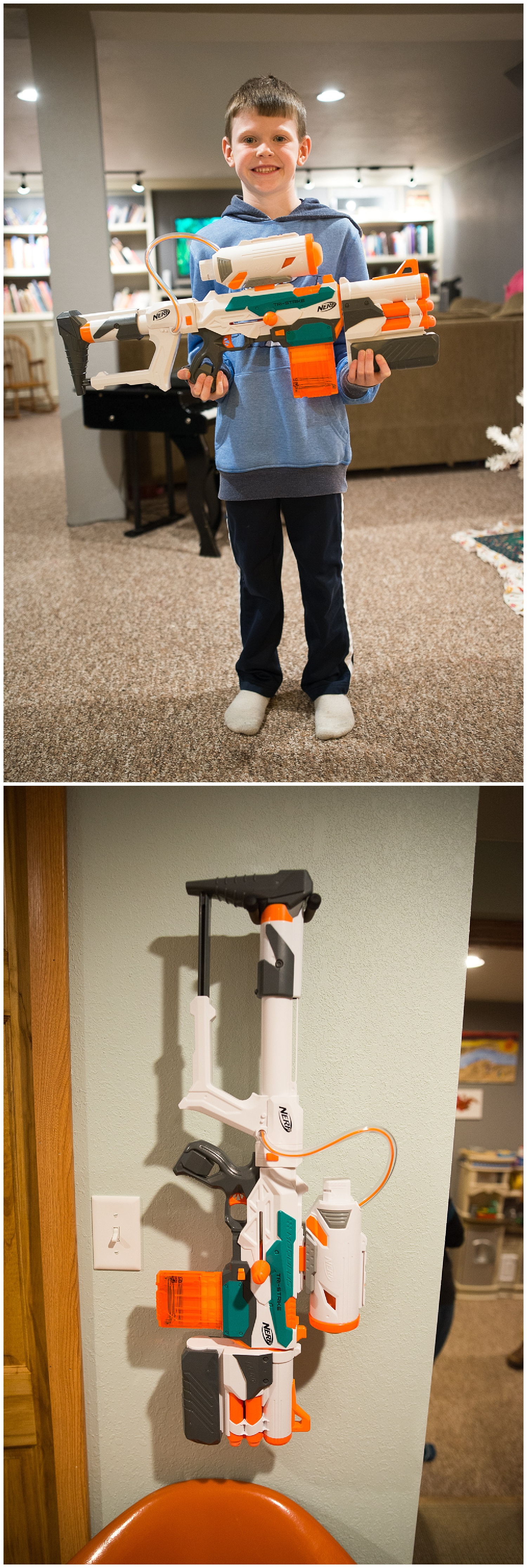 And Eli's favorite thing is his Nerf gun.  It hangs on the wall from a guitar holder.