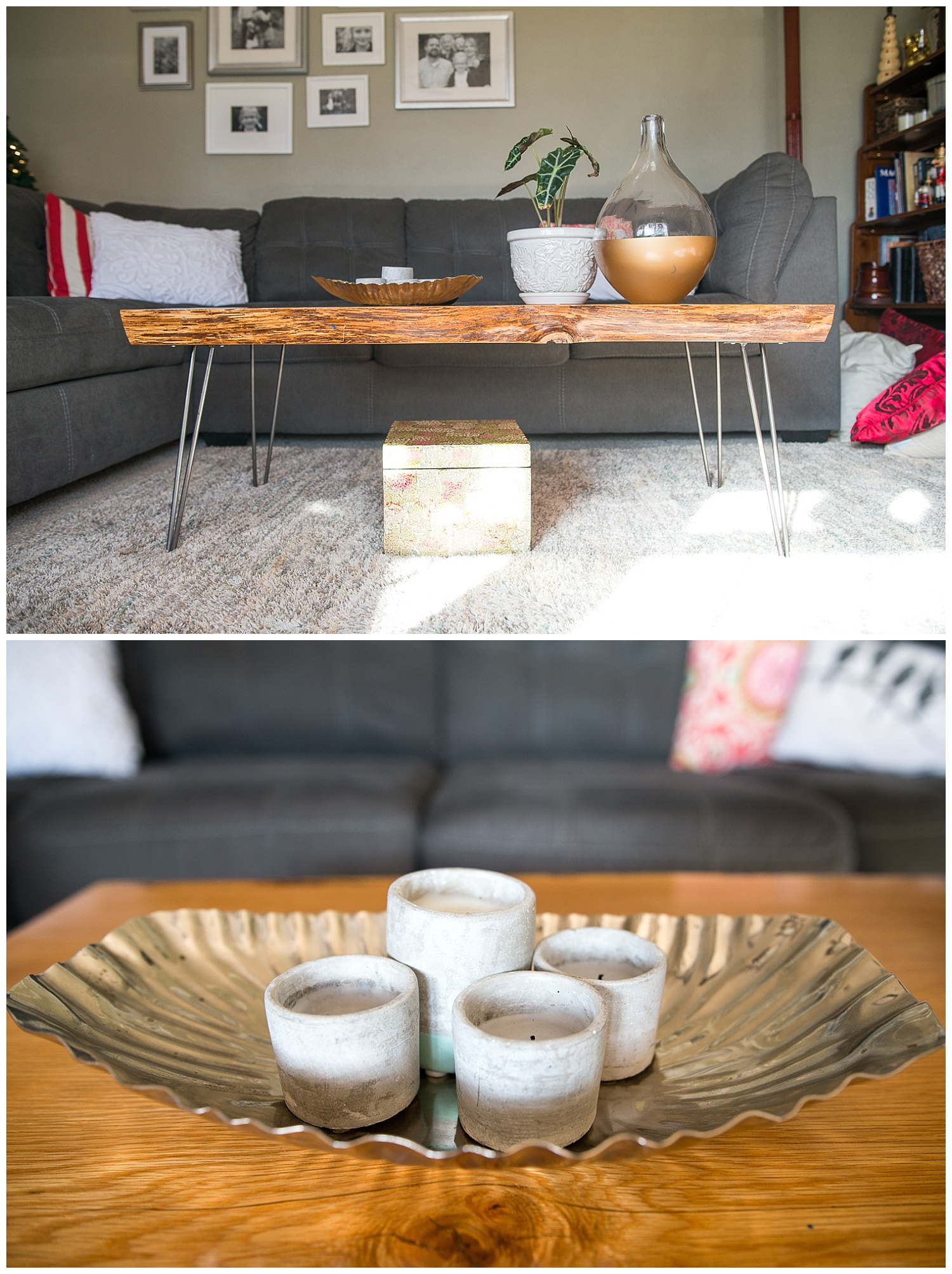 This is the live edge, locally made coffee table that Aaron bought for Monica from Fresh Digs for her birthday. Tytia Habing took the family photos in the wall collage; this room is where they hang out and watch the kids' favorite show, Gilligan's Island. The ceramic and aqua candle came from Fresh Digs