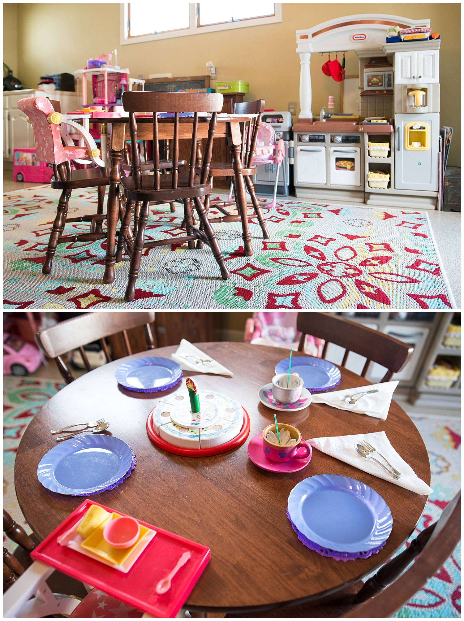 Kids live here. This is the kids' upstairs play area just off the kitchen and it is complete with all the things needed for a tea party. A little table and chairs is exactly what every playroom needs.