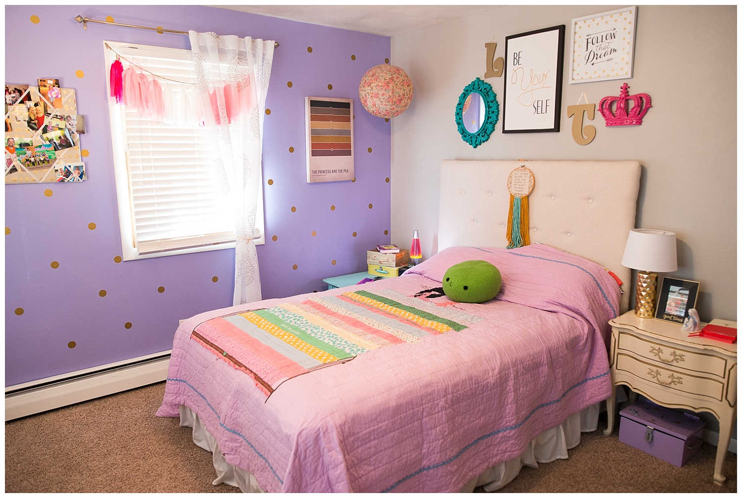 Here we have Lily and Tess's room. They share this room and the theme is the Princess and the Pea. I love the addition of the gold dot wall decals on the purple wall. Such an easy way to jazz up a room. We do have similar ones in Fresh Digs.