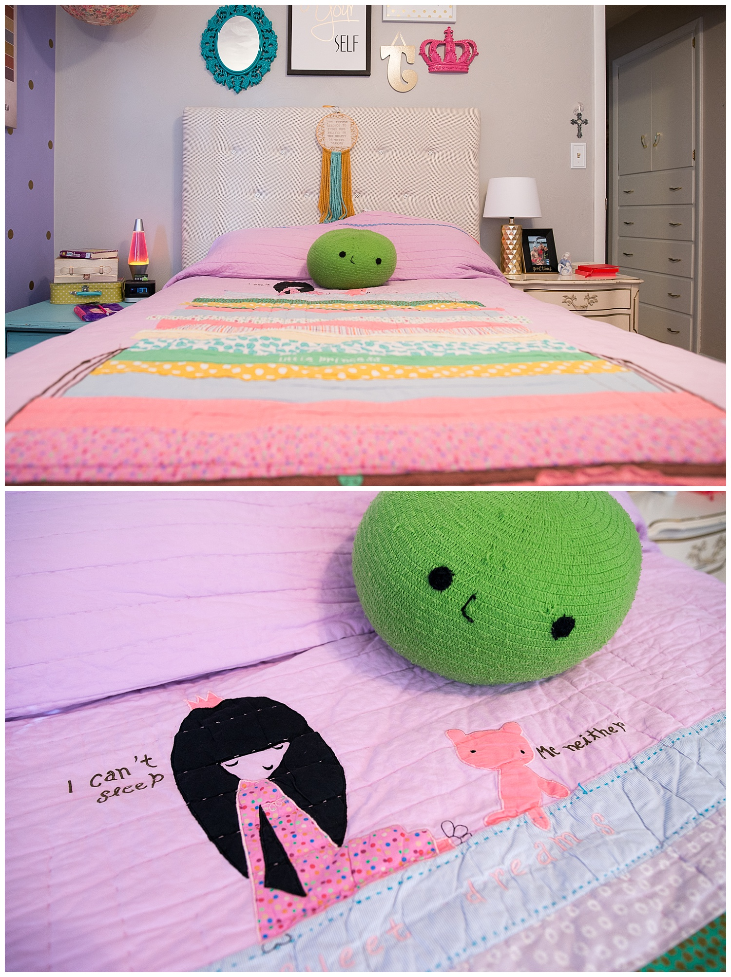 Salina , co-owner of Fresh Digs and friend of Monica's,made the headboard and Monica got this adorable comforter set at Land of Nod. The pea kills me. Peek down the hall at the built-in storage - so very fabulous with its gold pulls and so very 1960s.