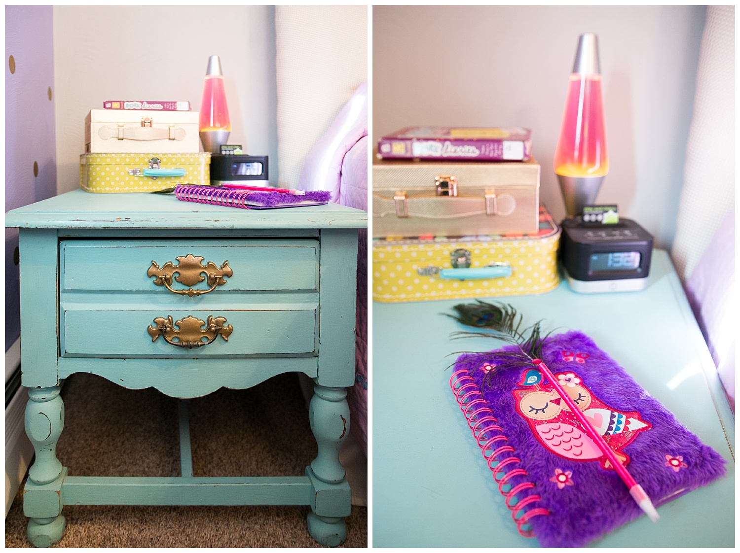 Girl things. The bedside table came from Fresh Digs.