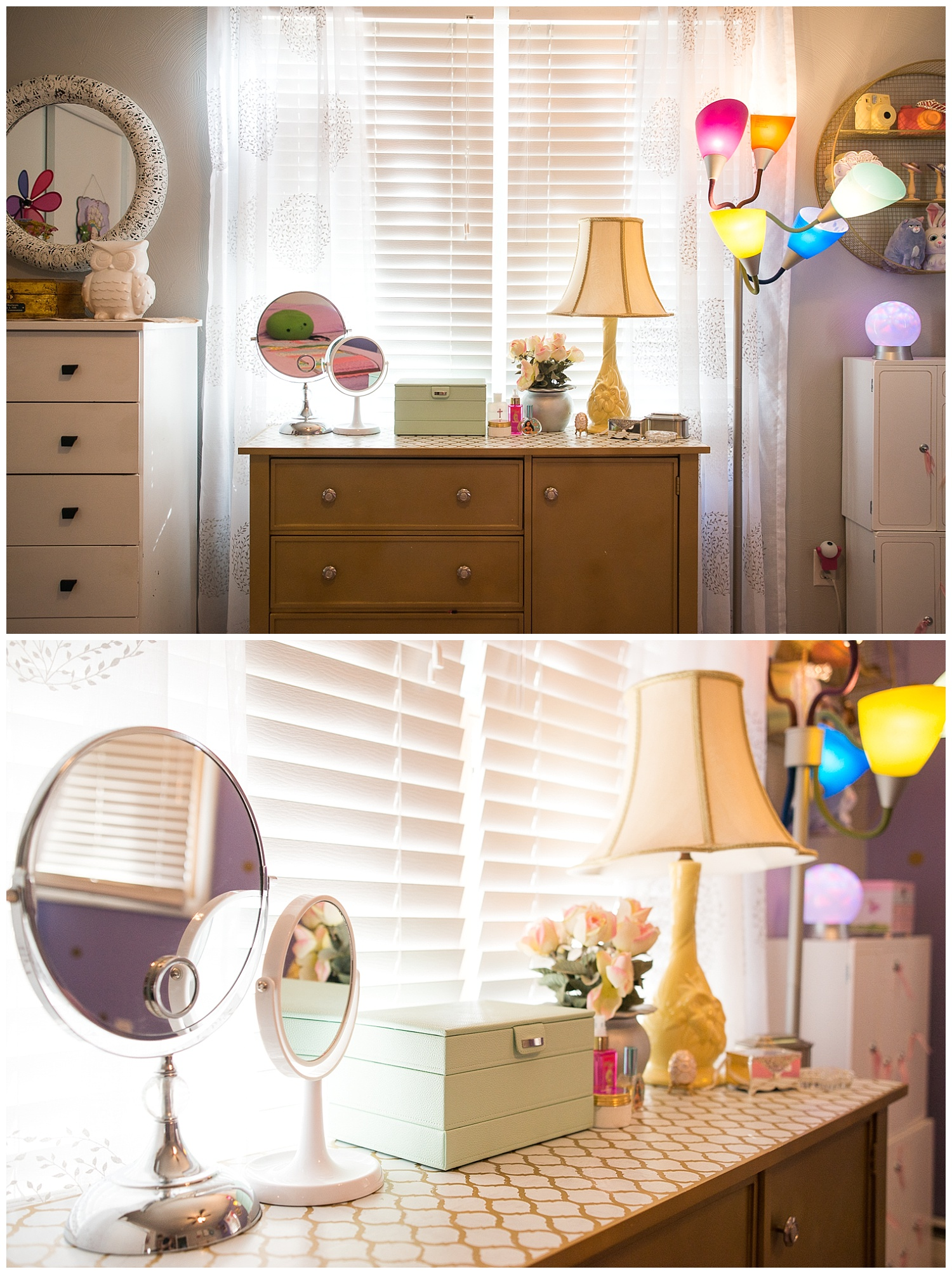 Monica painted the dresser gold and stenciled the top. The vintage yellow lamp came from the backroom at Fresh Digs.