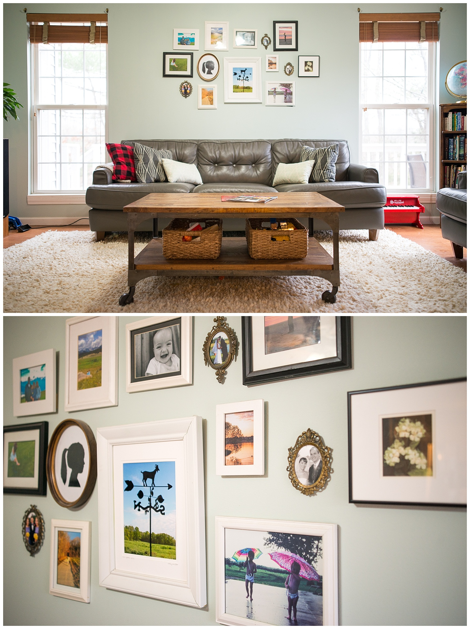 What a great scene.  Helen made the throw pillows on the couch, the wall collage was created with meaningful artwork and found frames.  The living room furniture was bought online.