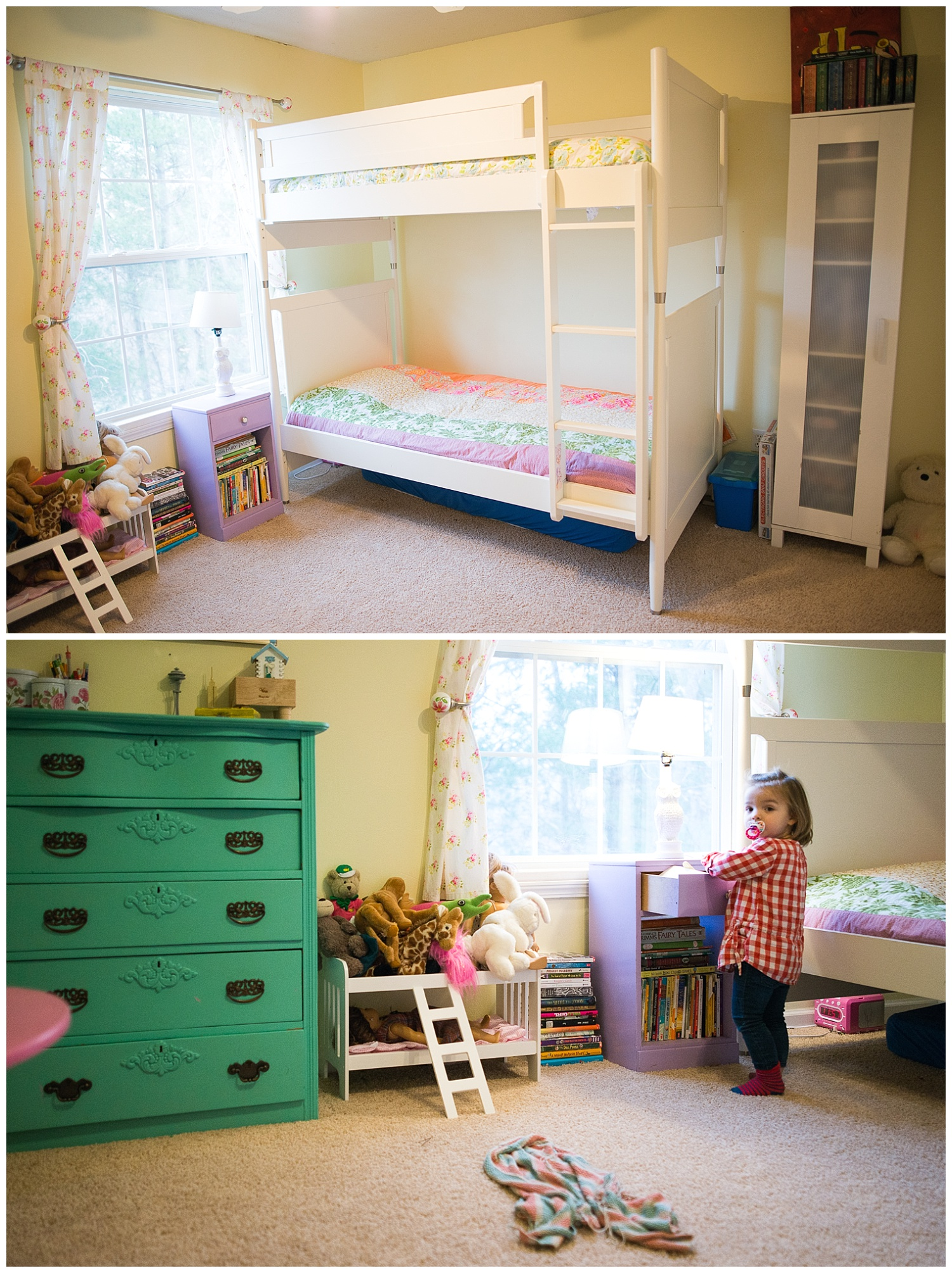 Faye and Vera began sharing this room when Holly was born.  Again, Helen made the curtains and bedding during her fabric arts phase.  The dresser was Helen's as a child and she modernized it with a coat of paint.