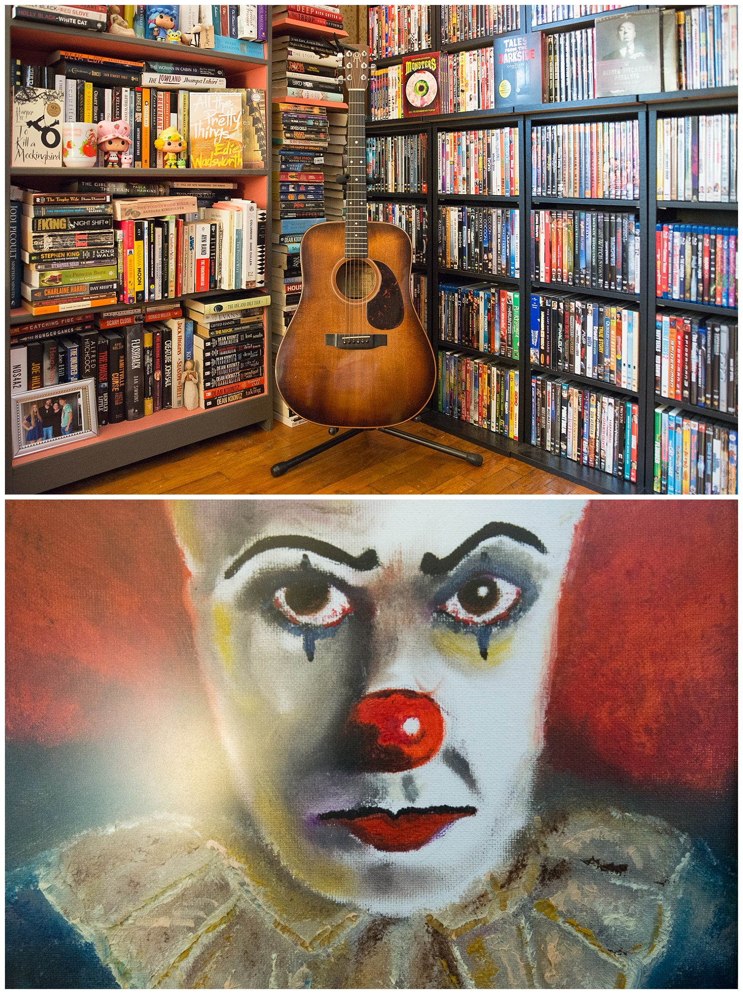 Books meet music.  And below we get a taste of Aaron's style with his painting of a creepy clown.  Have I mentioned that he's a very talented guy?