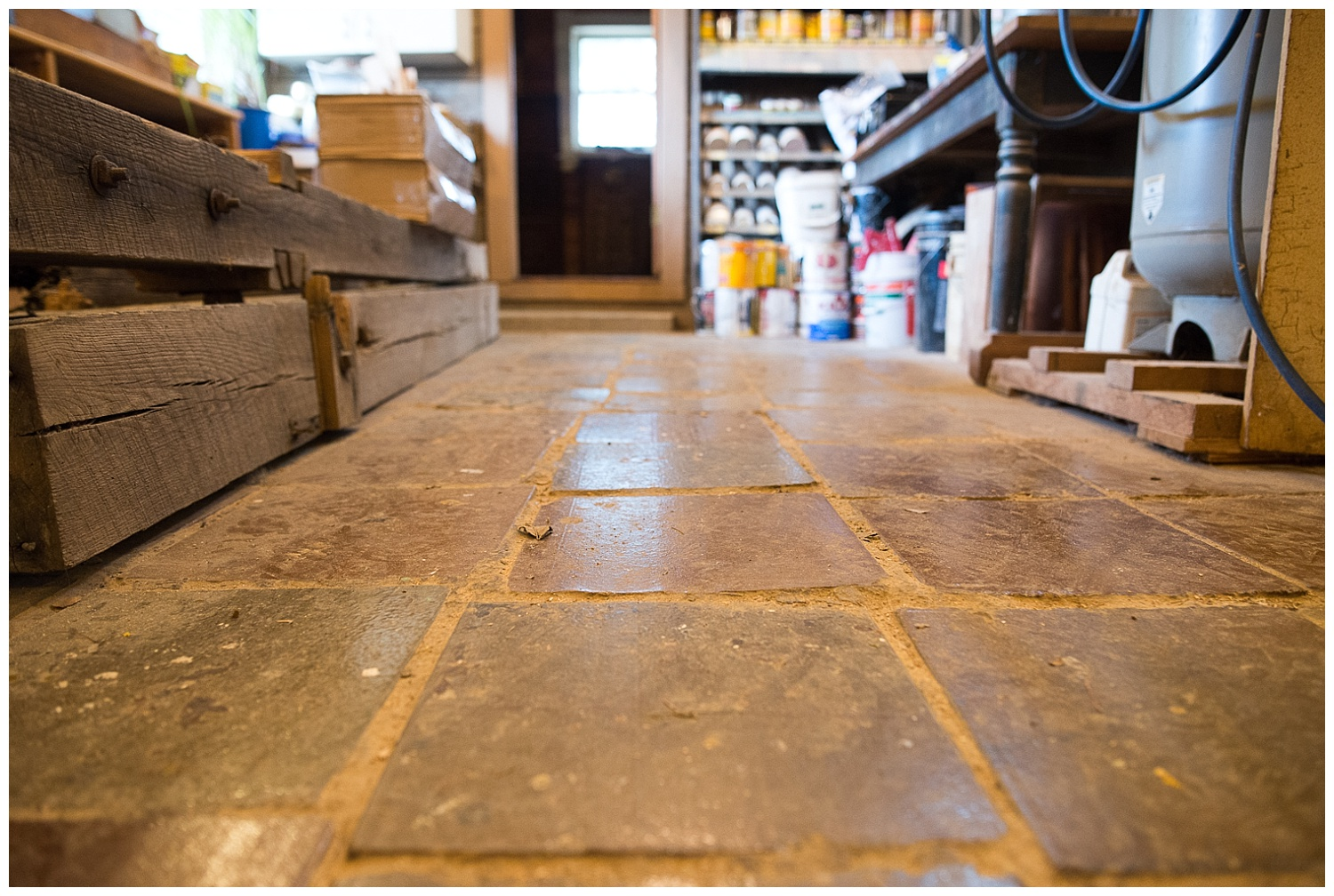 """This floor is 8"""" thick conduit tile their grandpa purchased for $0.02/piece."""
