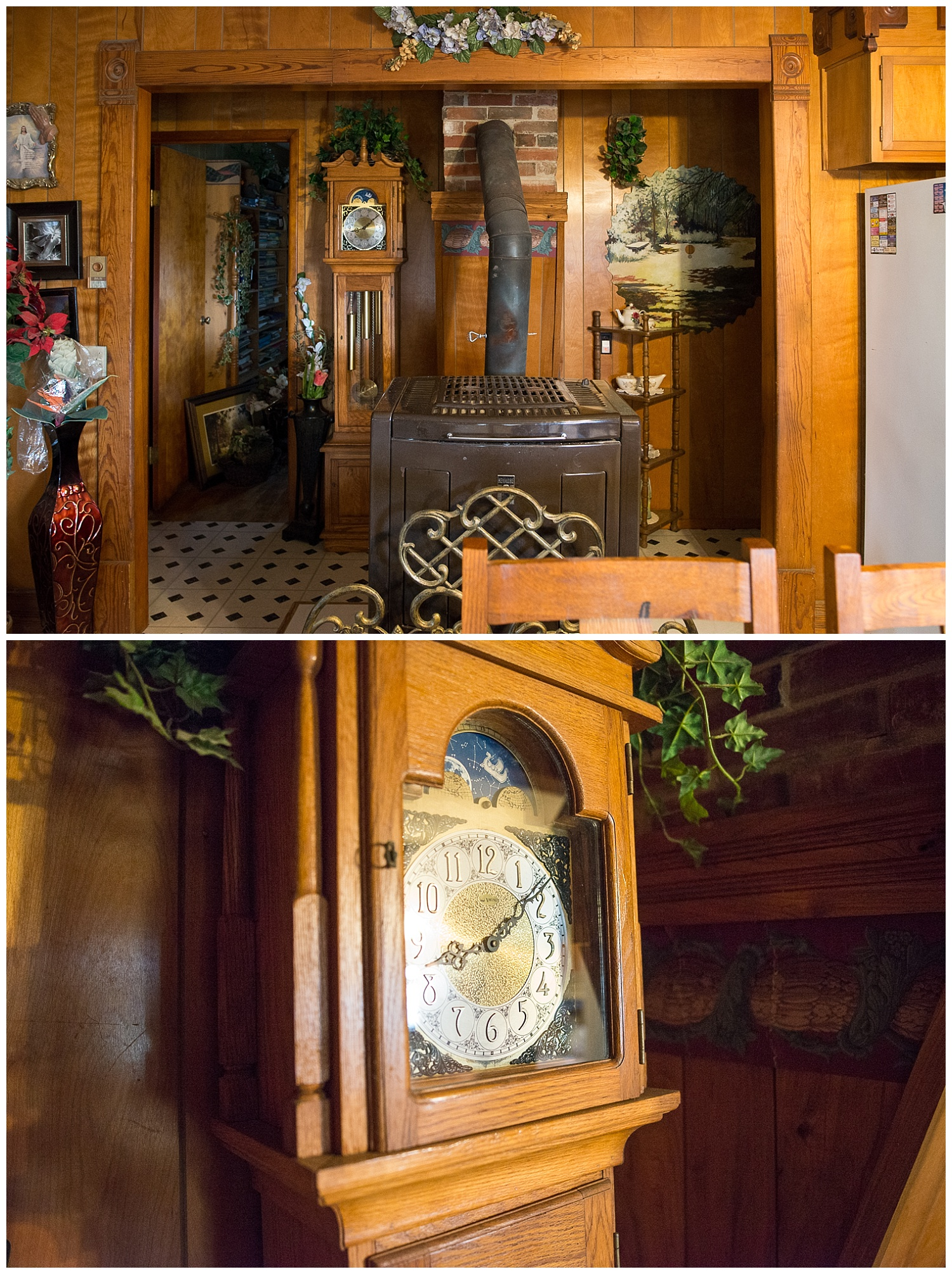 The show kitchen at the front of the house. This once coal but now wood stove does a fine job of heating the entire house and this Grandfather clock was impressively his Sophomore class project.