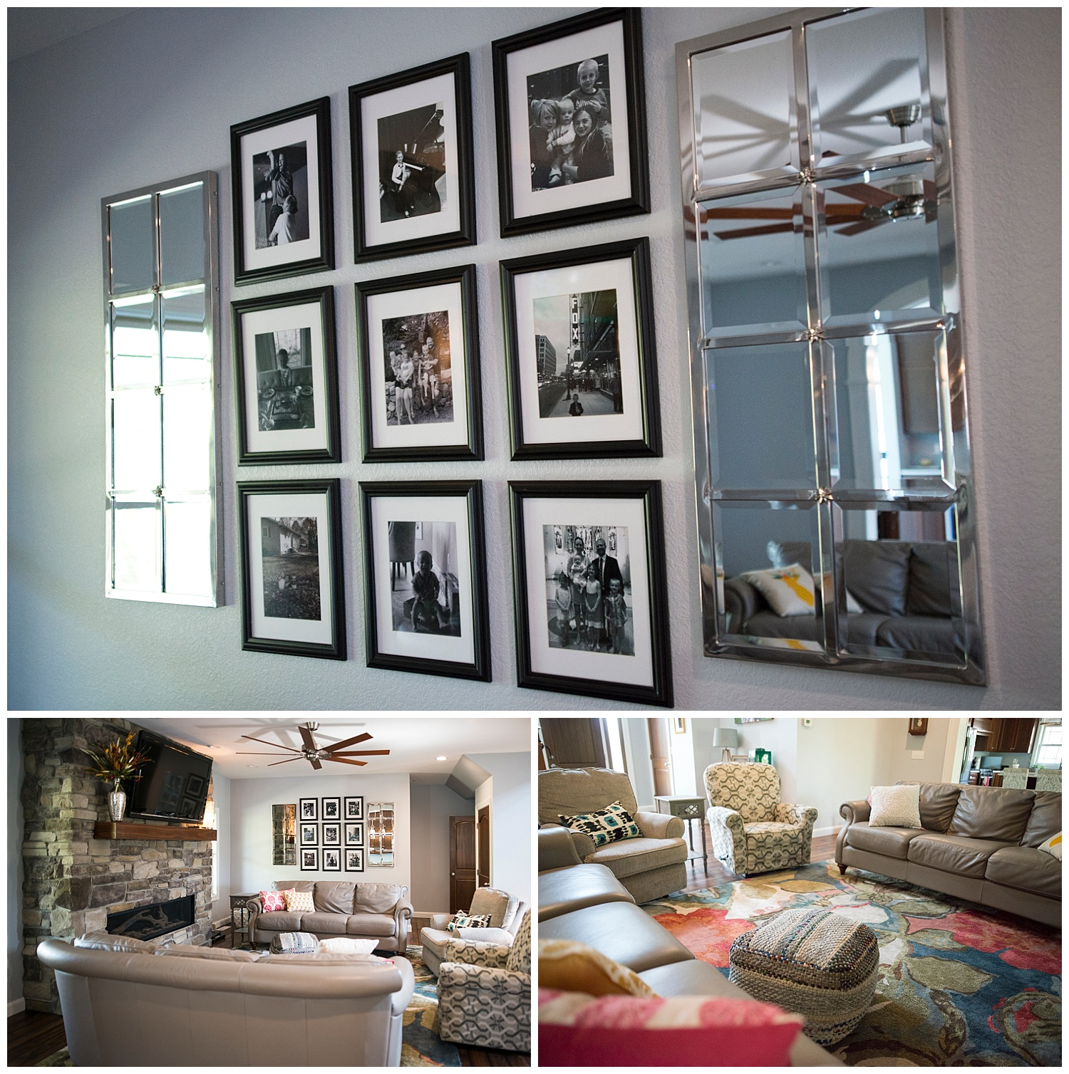 The well-thought-out wall collage with matching frames and black and white photos is not only a focal point but also a perfect and inviting way to share family photos with visitors. The mirrors add a little bling and extra light to the room.