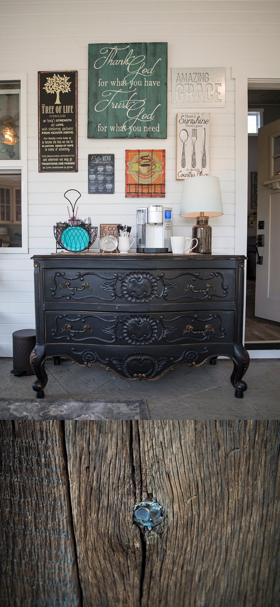 Top:  Anthea's style is all about finding unique pieces from many different sources - local shops, secondhand stores, local builders, box stores and online.  The door on the right leads into the home.  Bottom:  She's also done a lot of repurposing.  For instance Anthea repurposed barn wood as paneling in the sunroom from a barn that John had torn down thirty years ago.  The bottom picture is of a bullet that came embedded in said wood.