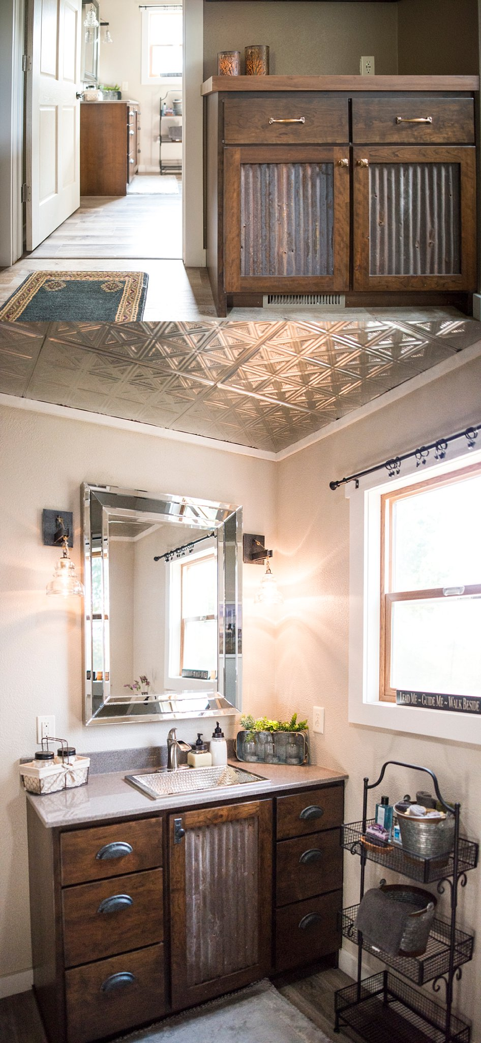 """Top: At the other end of the hallway from the bedroom is the bathroom. Turn right in front of the drop zone to leave from the front door.Bottom: Of this space Anthea says, """"You have to have a little bling""""."""