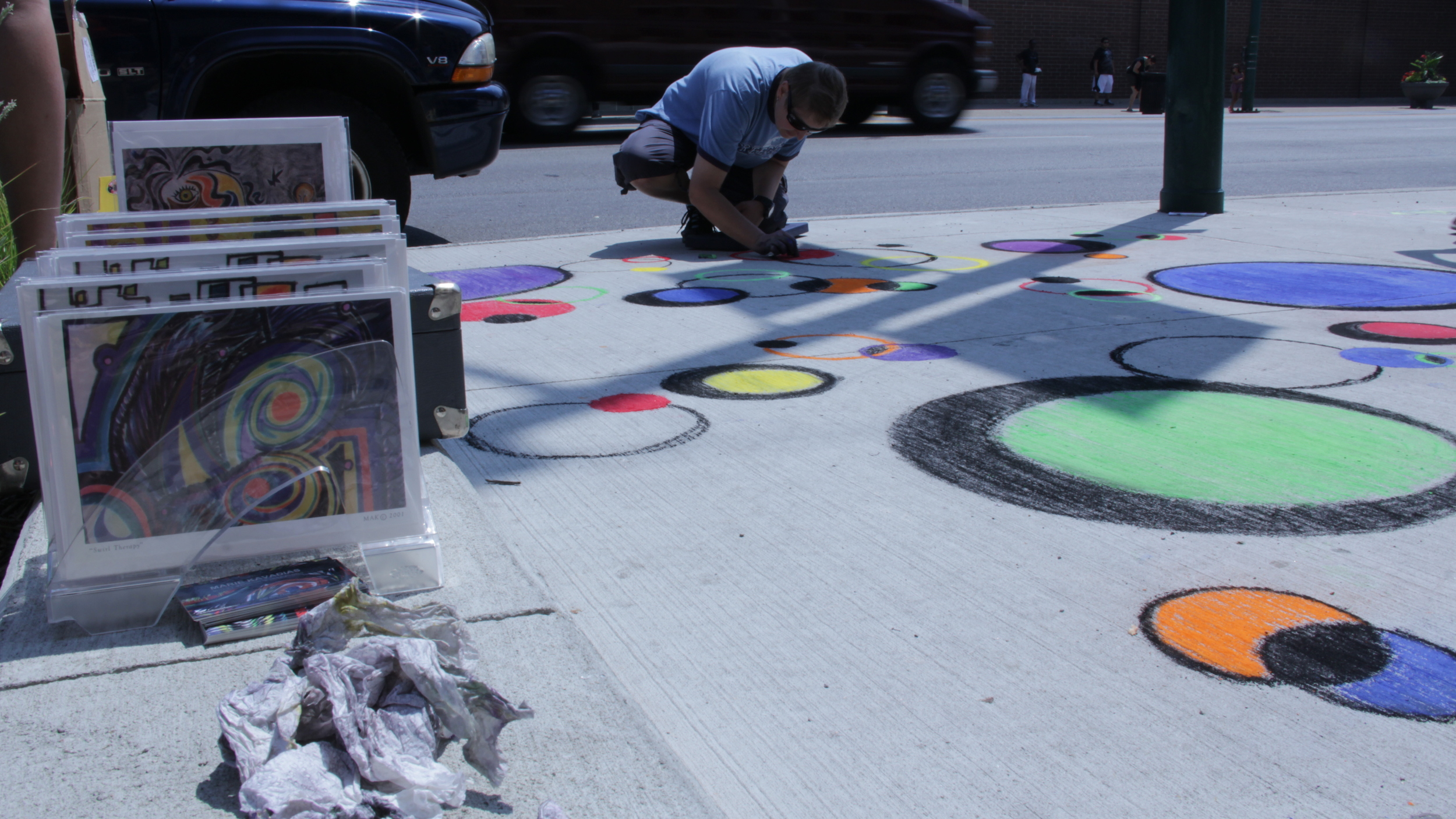Artist participating in Great Chicago Chalk Art Festival