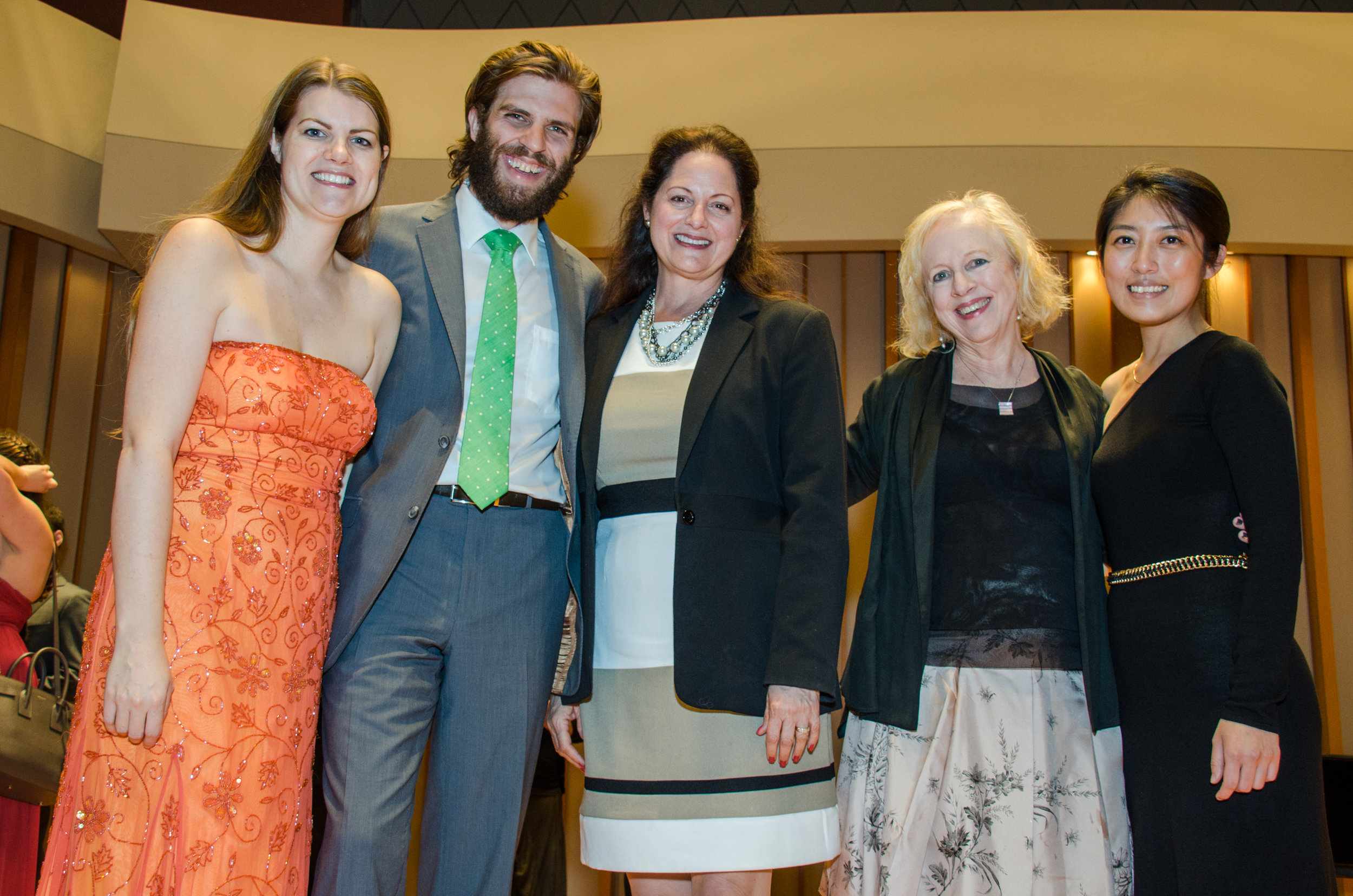 2015 pianist Gloria Kim after the performance of a world premiere commission by Anne Lebaron with (right to left) composer Anne LeBaron, Judy Cope of the Sorel Organization, and professional program singers bass-baritone Jesse Malgieri, and soprano Melanie Henley Heyn.