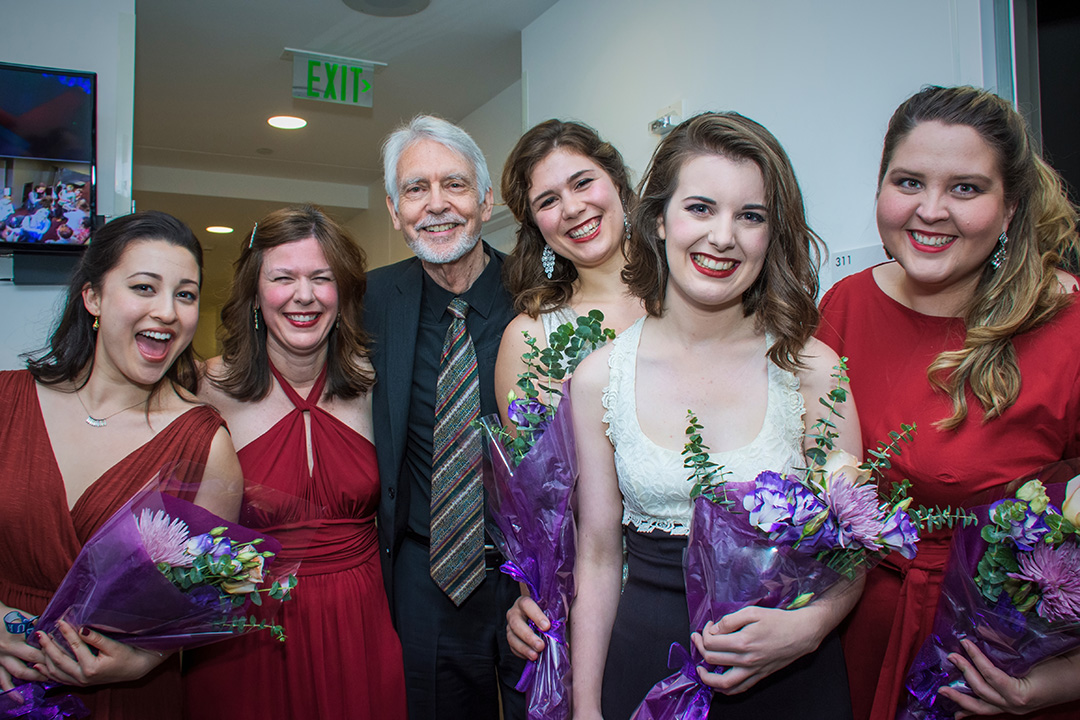 (left to right) Kelsey Lauritano, Lydia Brown, John Harbison, Chloë Schaaf, Simone McIntosh, and Anne Wright.    ©Jeanine Hill Photography