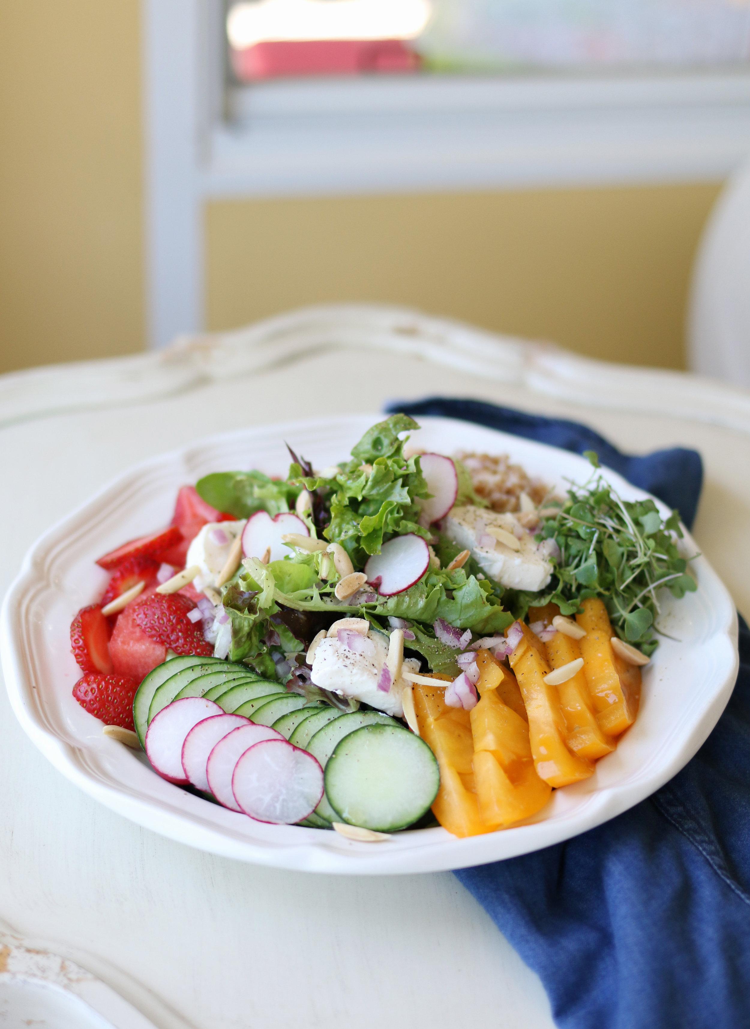 Strawberry and Melon Green Salad w/ Farro   Purposeful Plate
