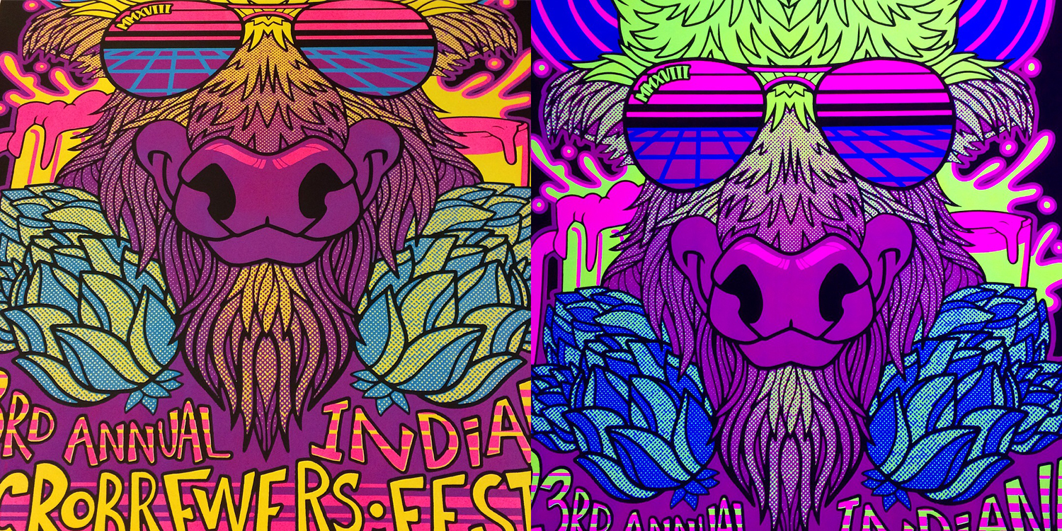 4 color screen printed blacklight ink poster