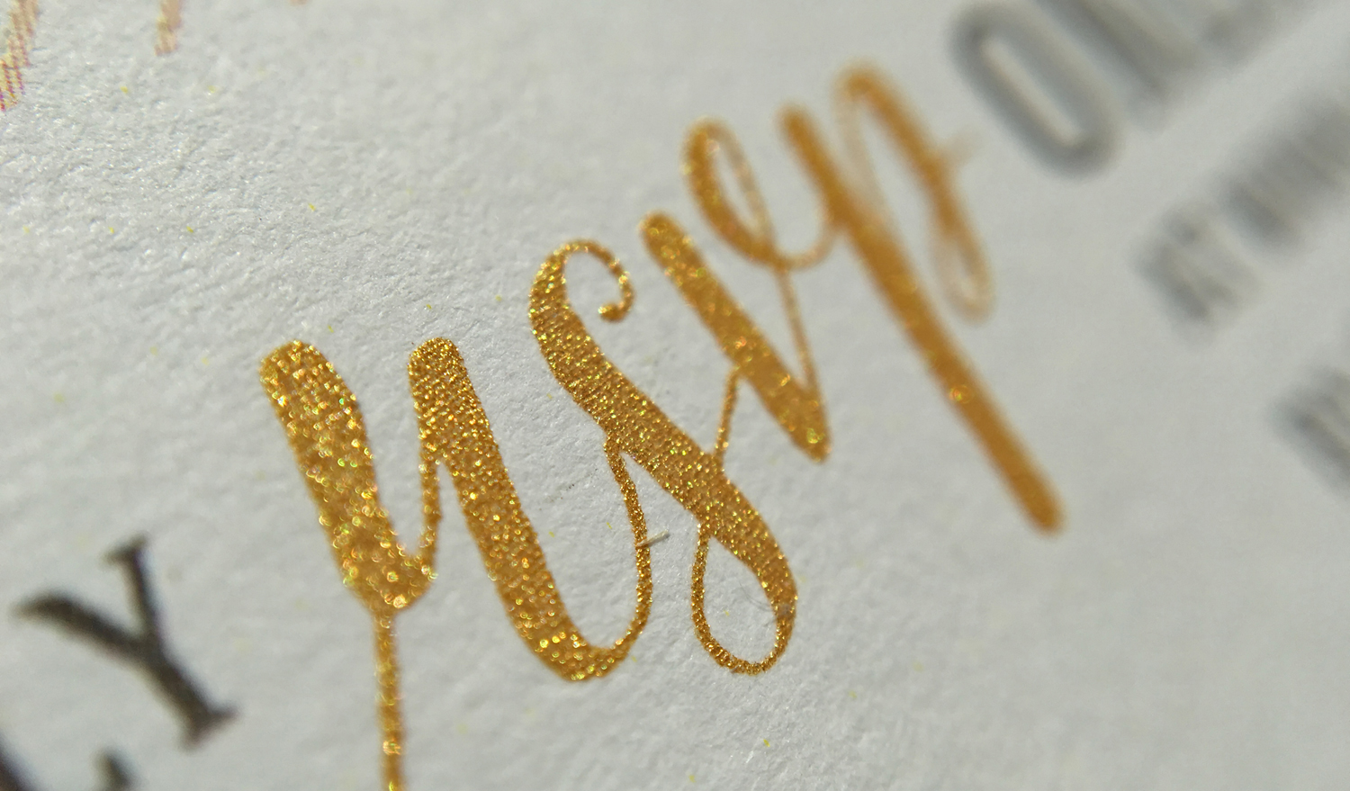 Close up of metallic gold screen printing ink
