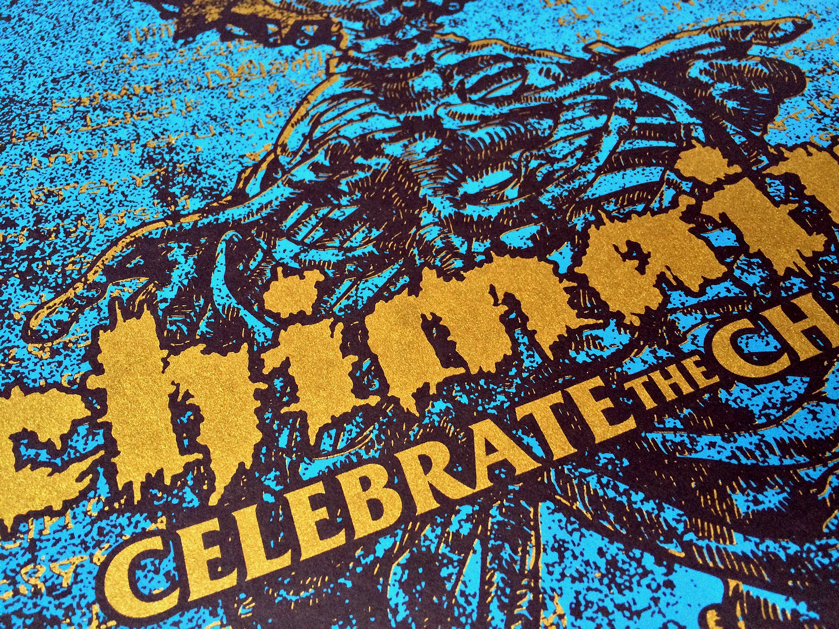 2 color screen printed poster    (Metallic Gold Ink)