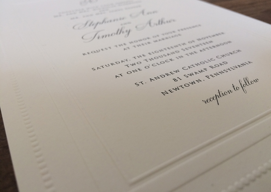 Black raised thermography custom embossed border on 110# Strathmore Natural White.