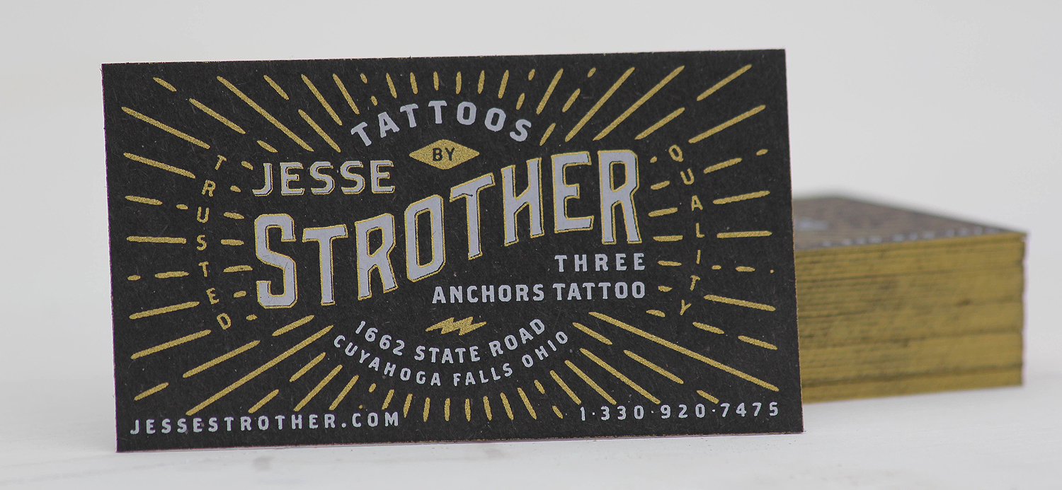2 color screen printed business cards w/ gold edge painting on thick black recycled chipboard