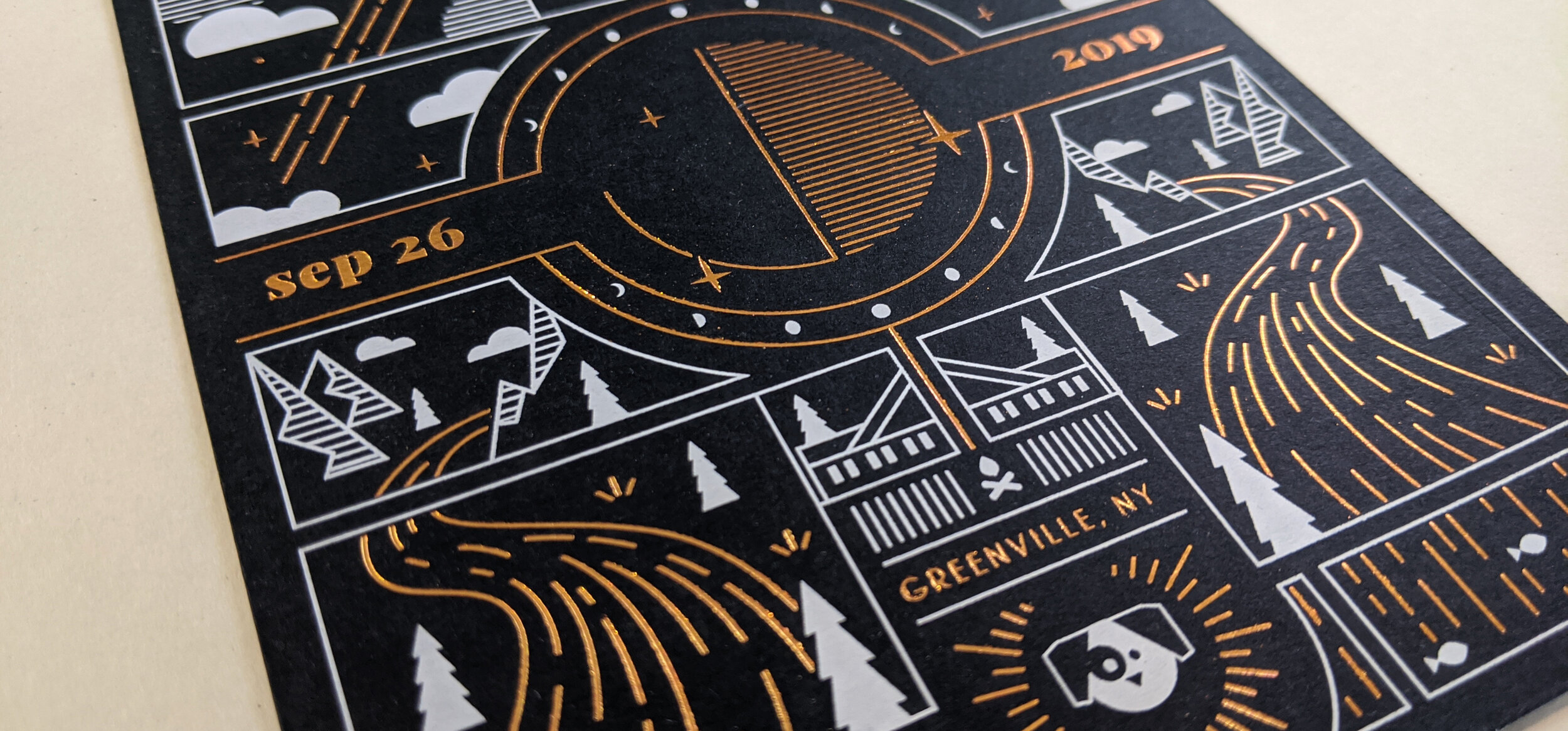 Copper foil and white screen printing ink on 130# Neenah Epic Black