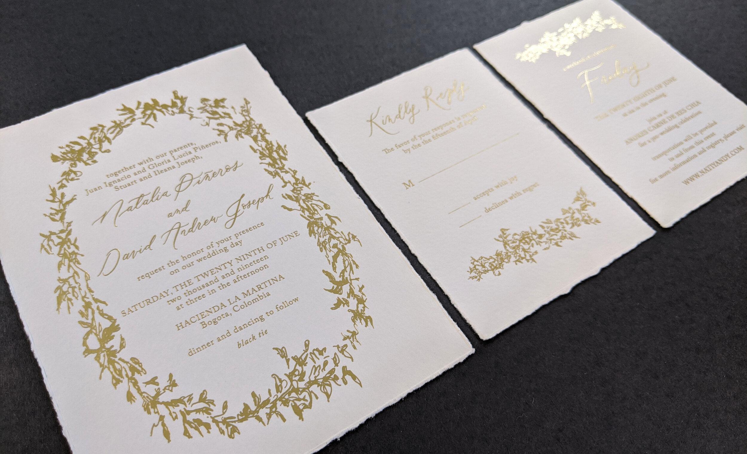3 piece gold foil deckle paper suite