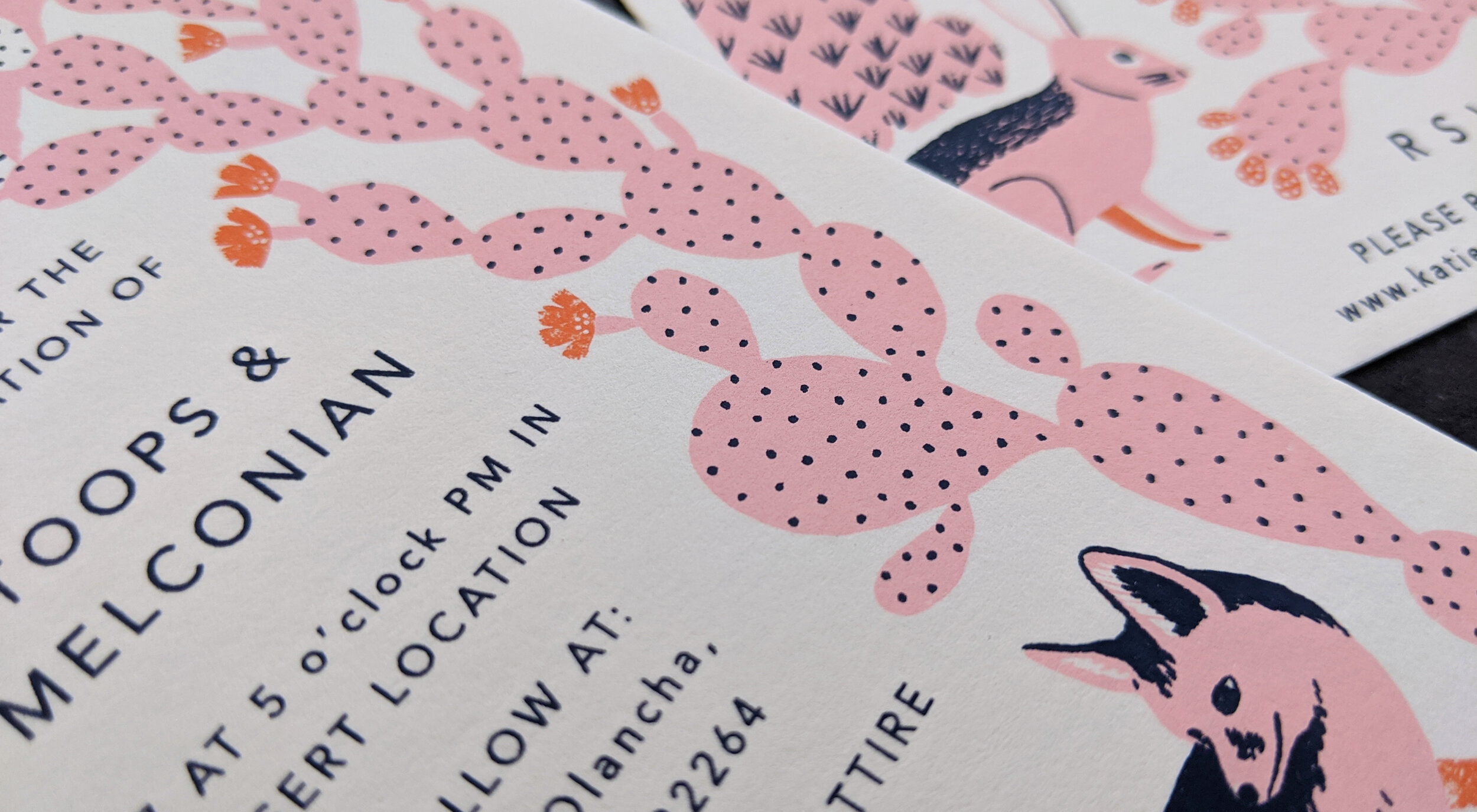 3 color screen printed wedding invitations on 110# pearl white lettra (100% cotton)