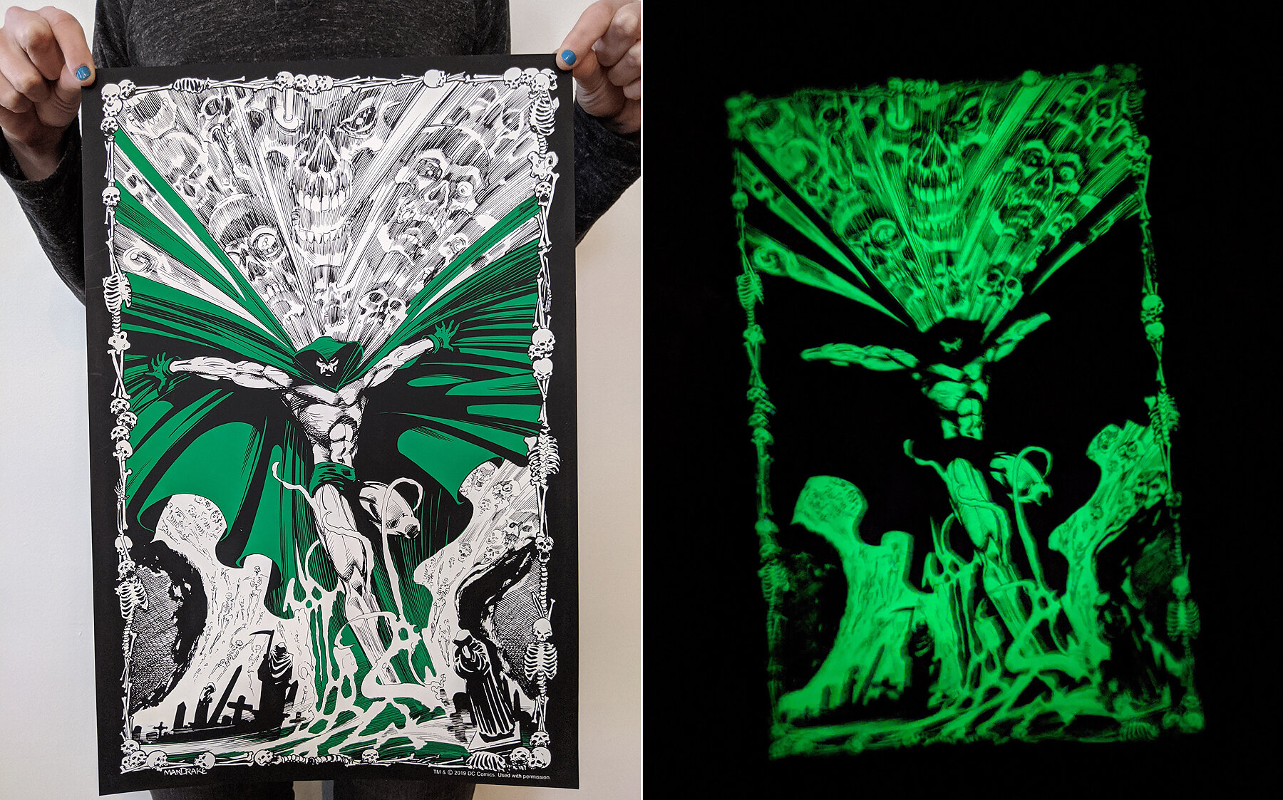 3 color screen printed poster with glow in the dark ink