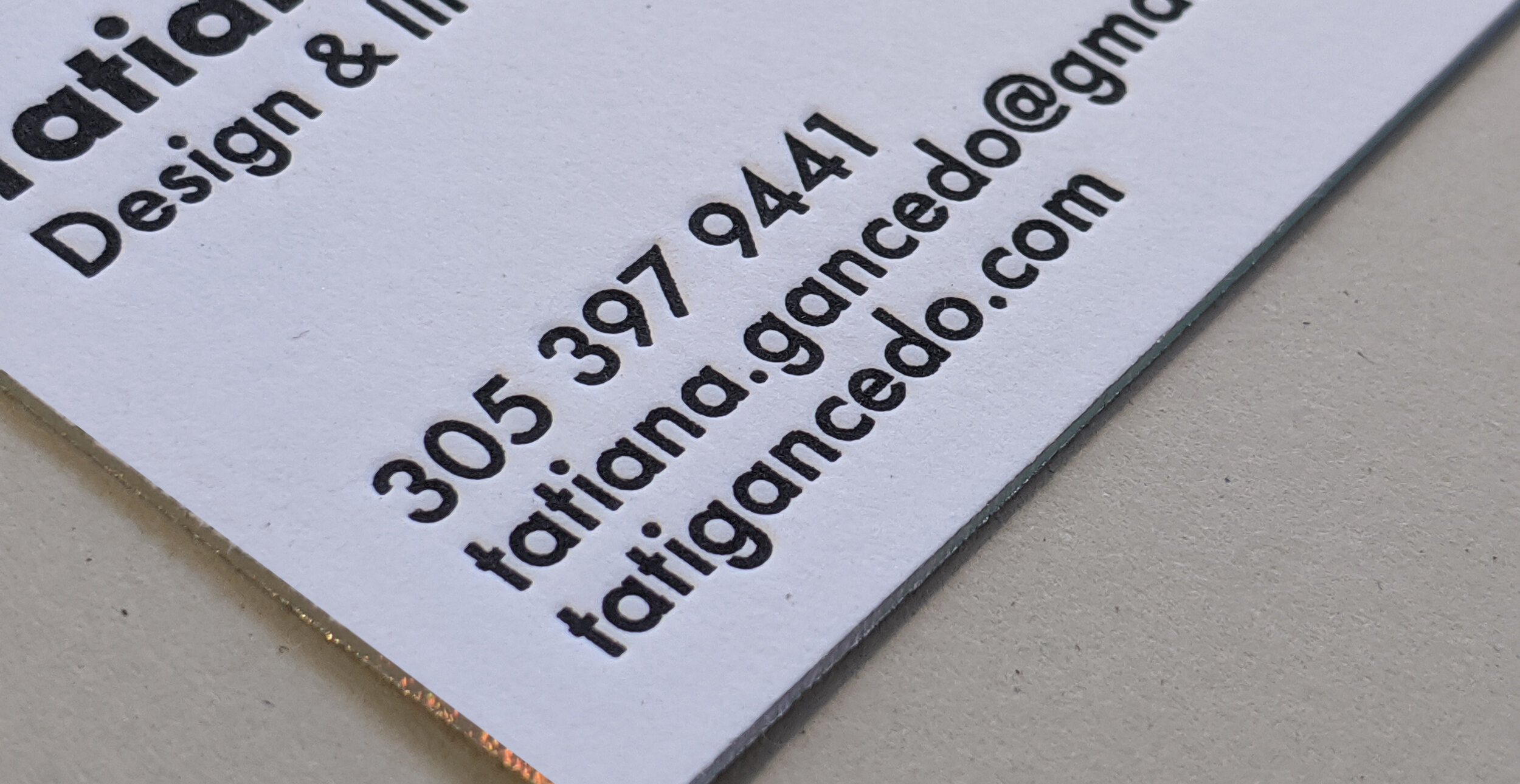 1 color letterpress on 220# flo white lettra and holographic gilded edges