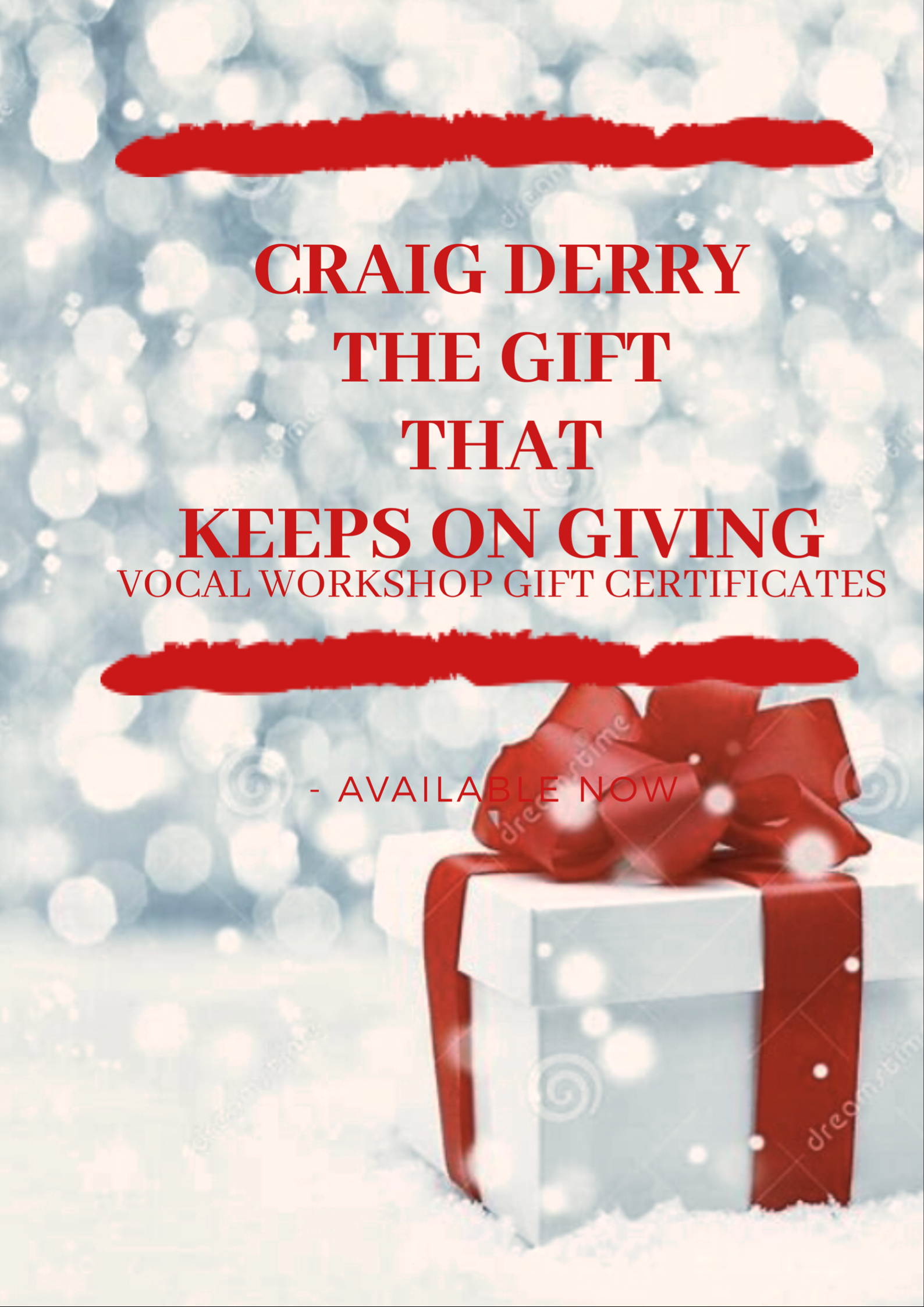 Tis' the season of giving! Give or ask for a gift certificate for Craig Derry's Vocal Fitness WorkOut Program. In $150 increments, This gift gives the artist 30 days of Vocal WorkOut its the Gift of the Work that Works!