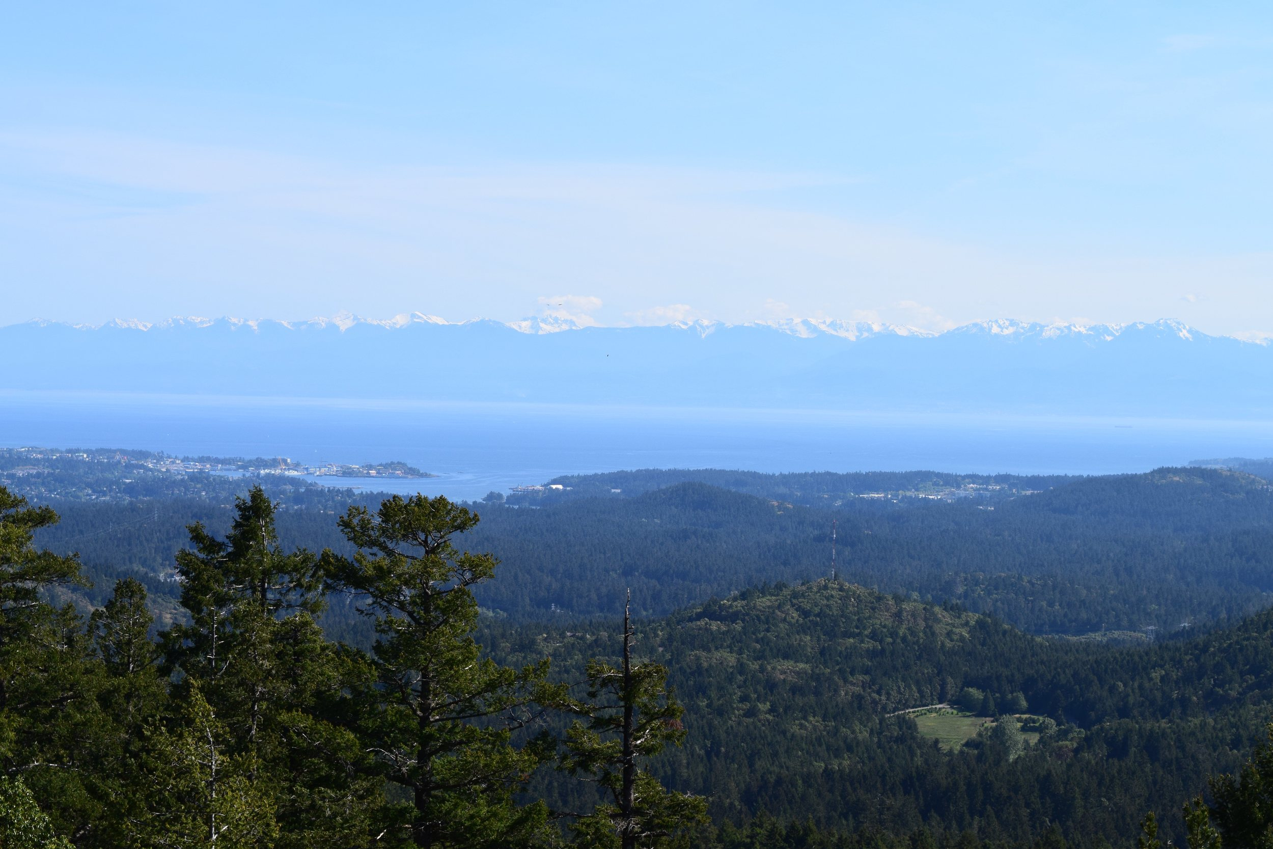 View of the Strait of Juan De Fuca and Olympic Mountains